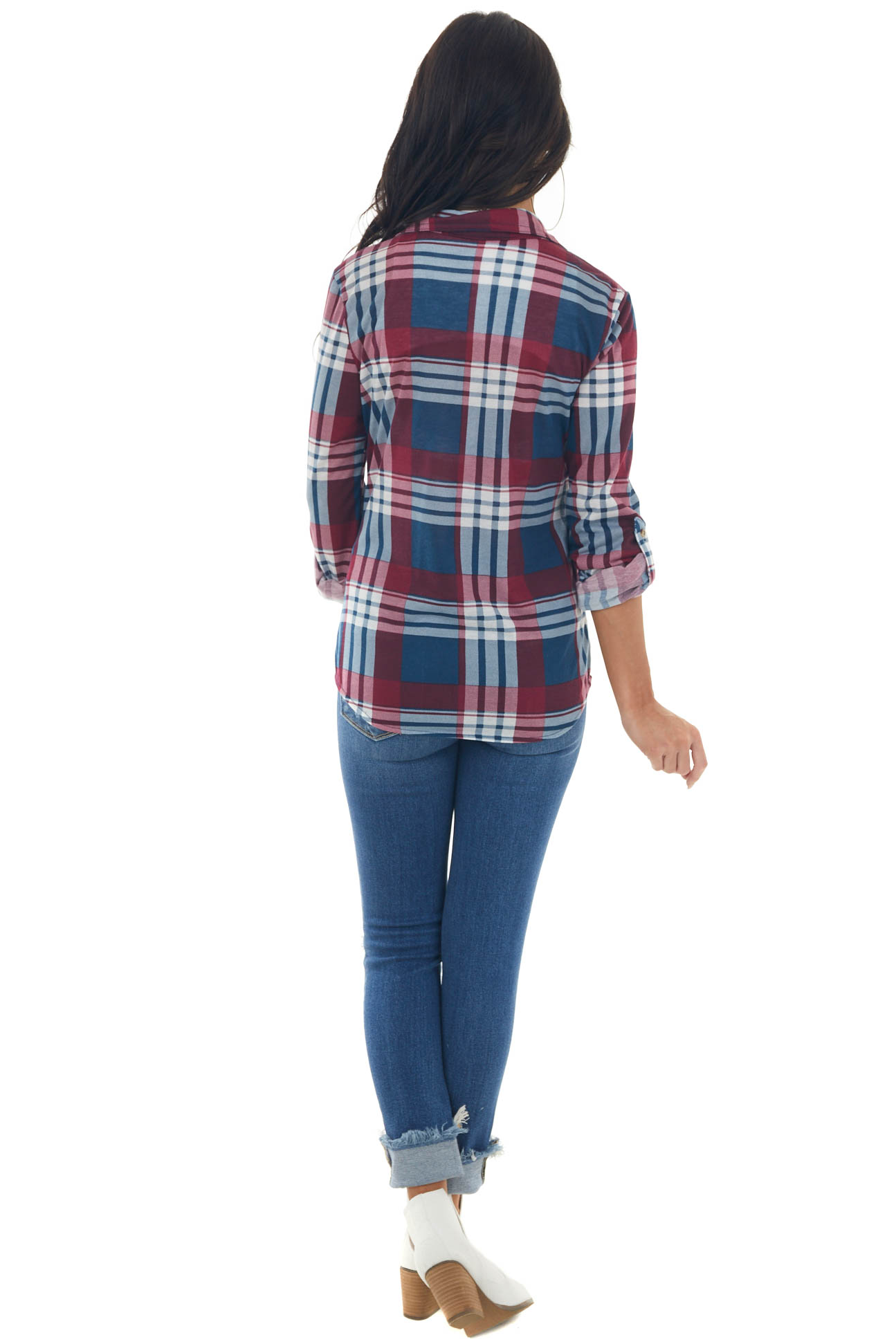 Wine and Ocean Plaid Top with Chest Pocket