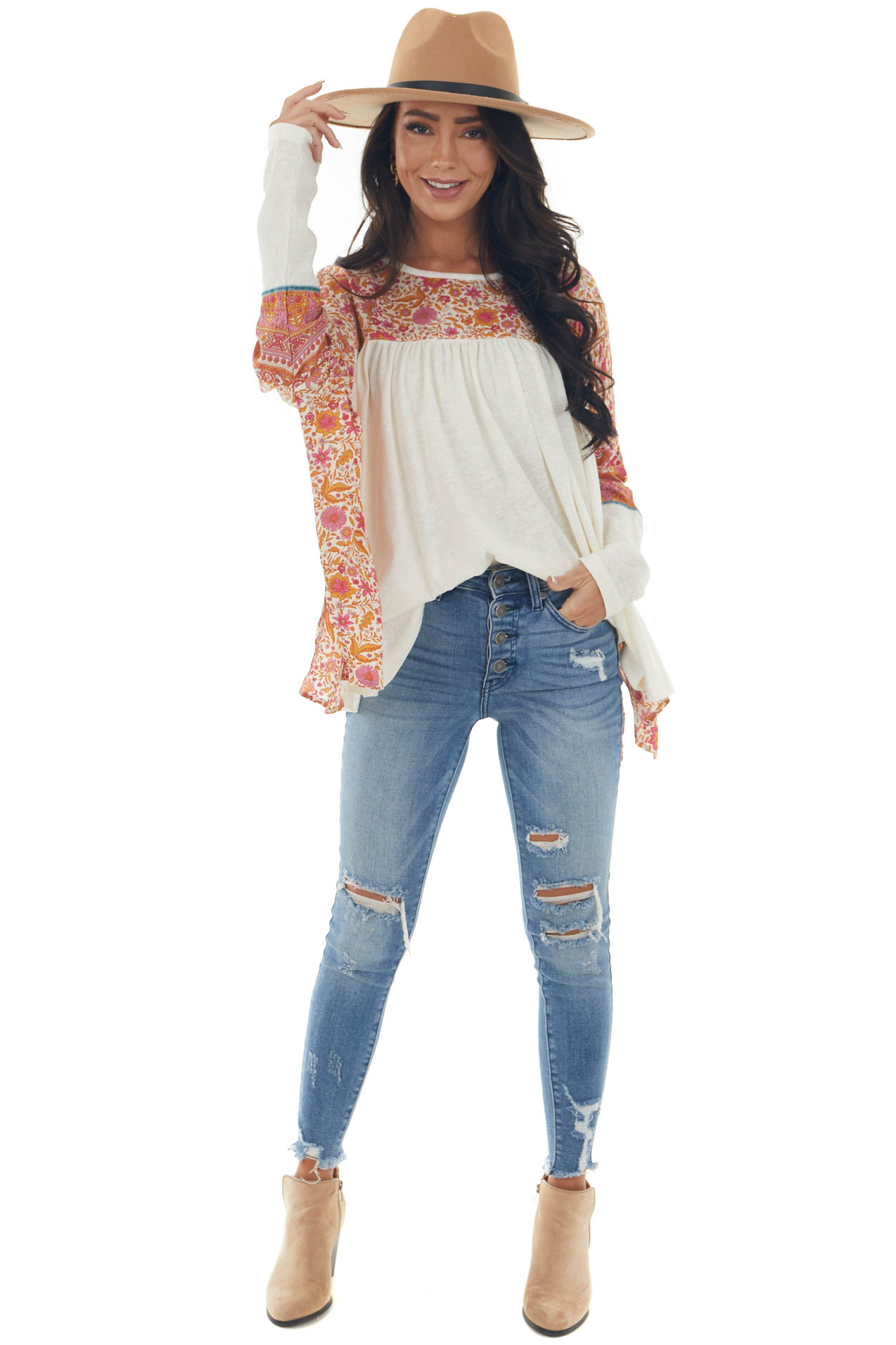 Ivory Floral Print Blouse with Long Sleeves