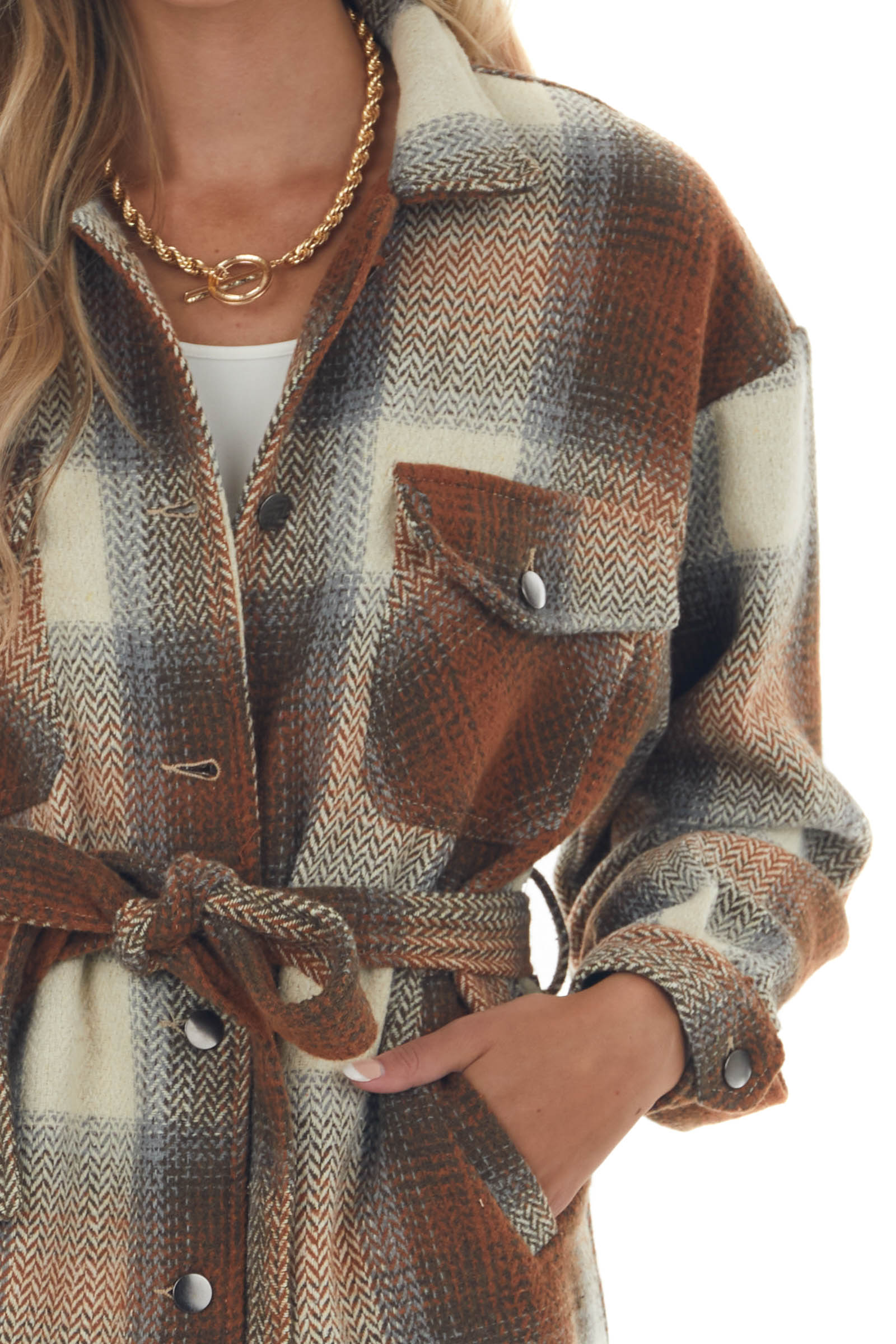 Spice Plaid Button Up Jacket with Waist Tie