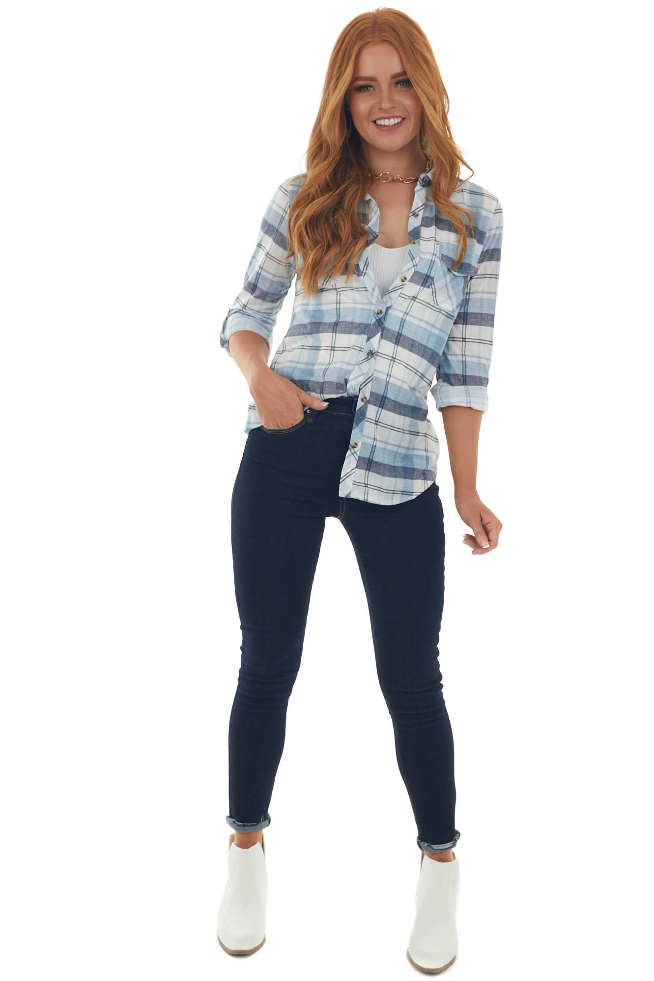 Steel Blue and Navy Plaid Top with Chest Pocket