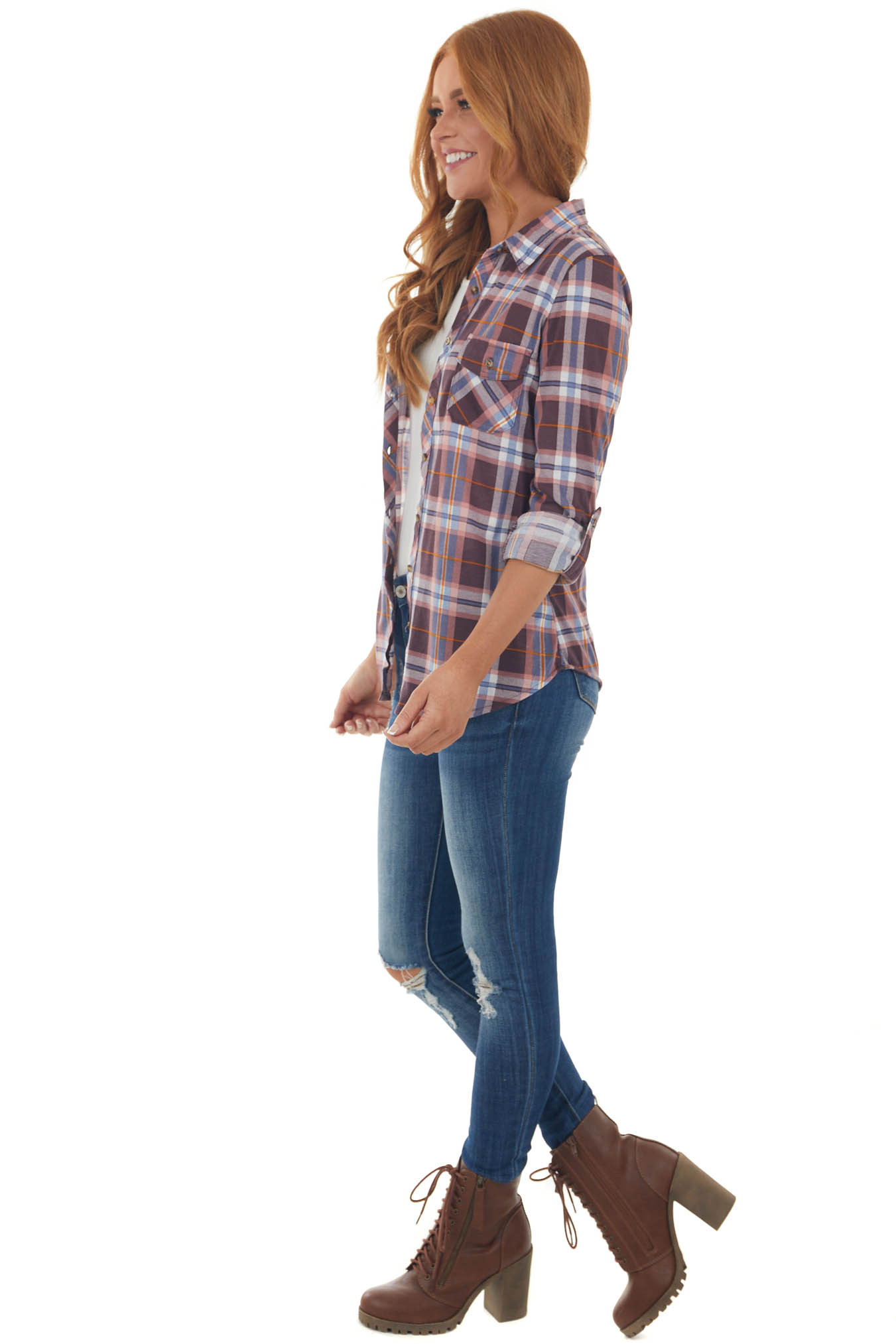 Wine and Cornflower Plaid Top with Chest Pocket