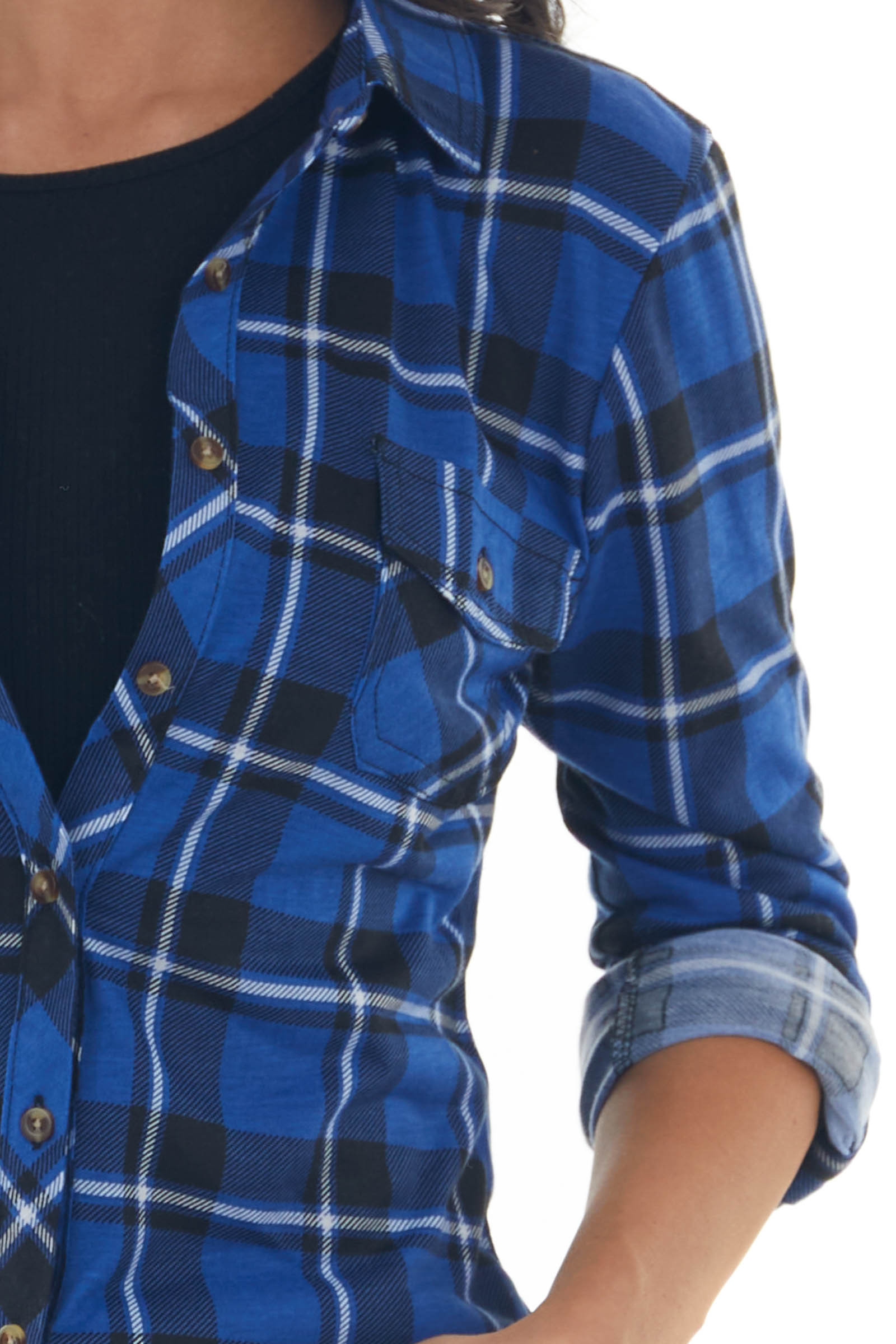 Cobalt and Black Plaid Top with Chest Pocket