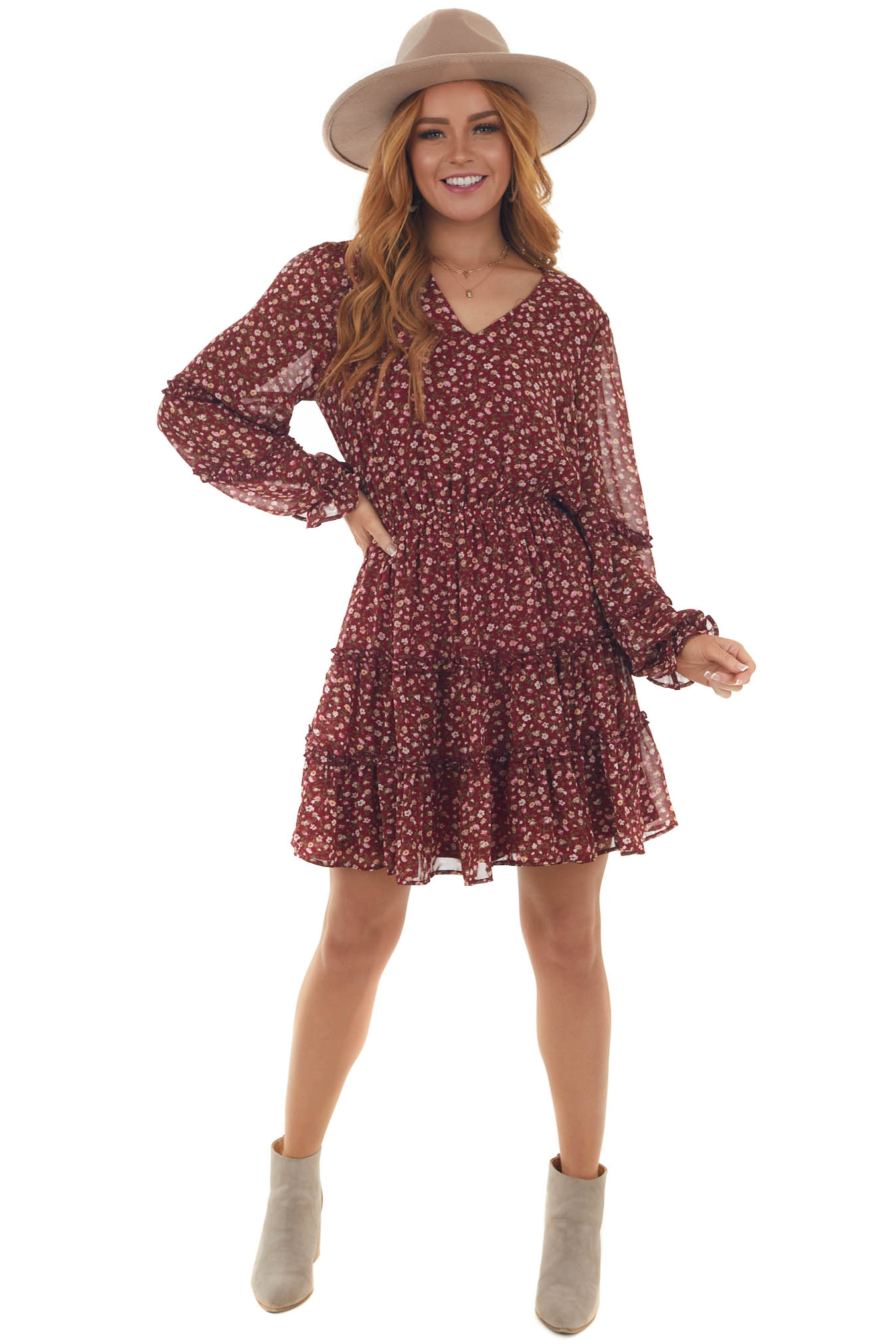 Rosewood Floral Print Tiered Short Dress