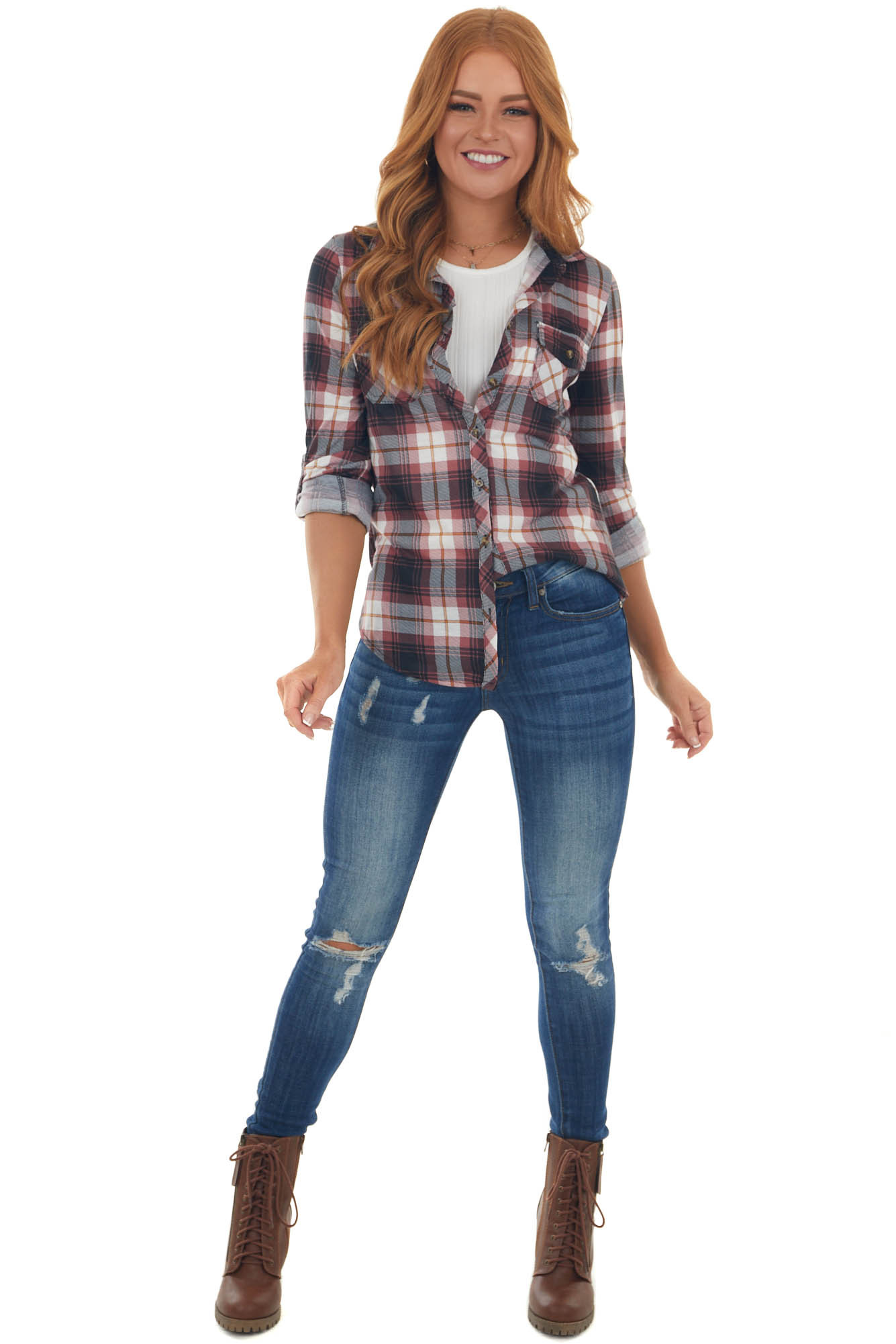 Berry and Black Plaid Top with Chest Pocket