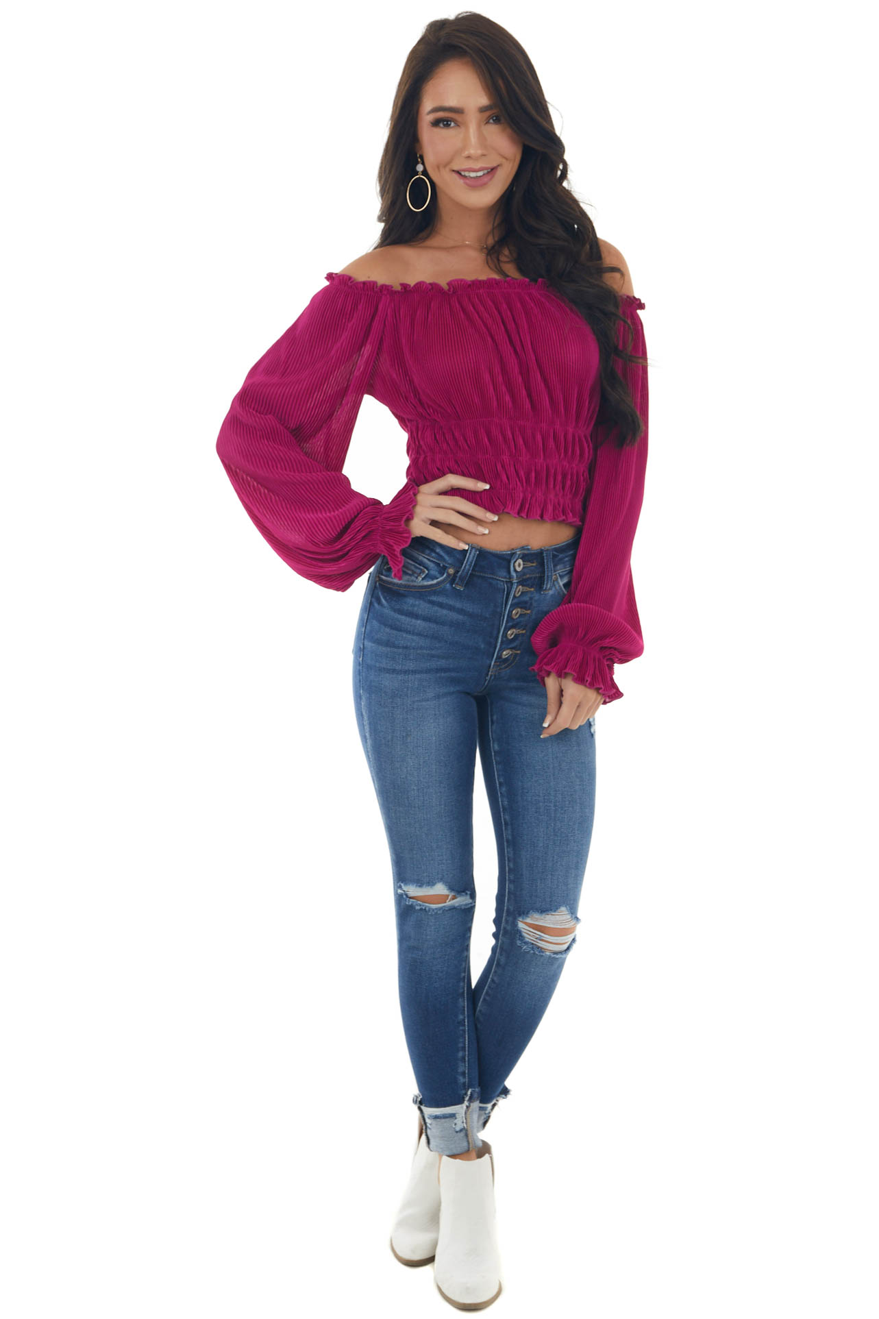 Rich Raspberry Off the Shoulder Pleated Blouse