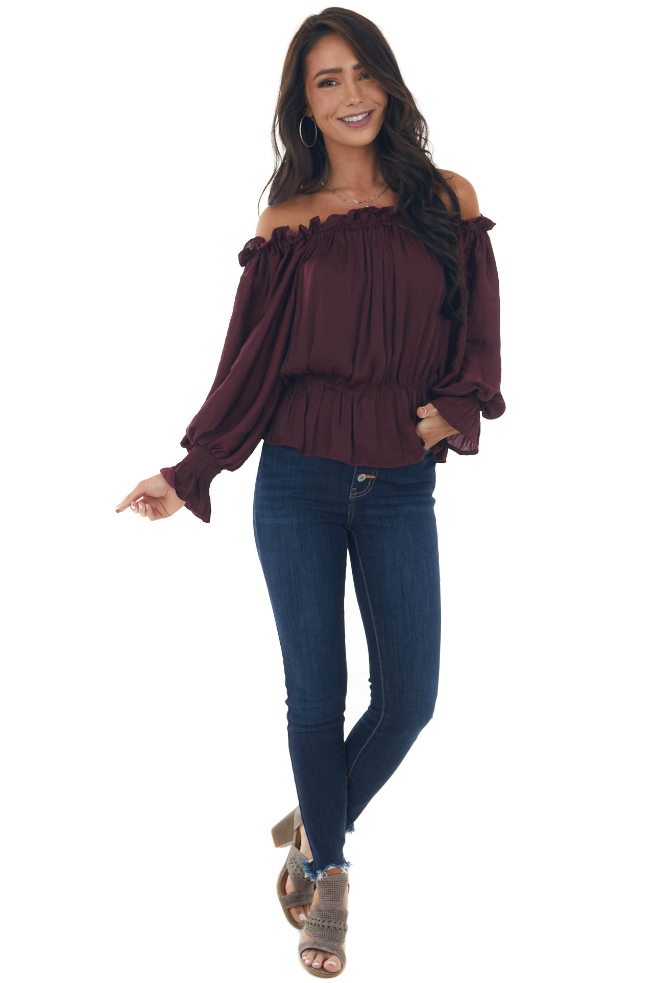 Wine Long Sleeve Off the Shoulder Blouse