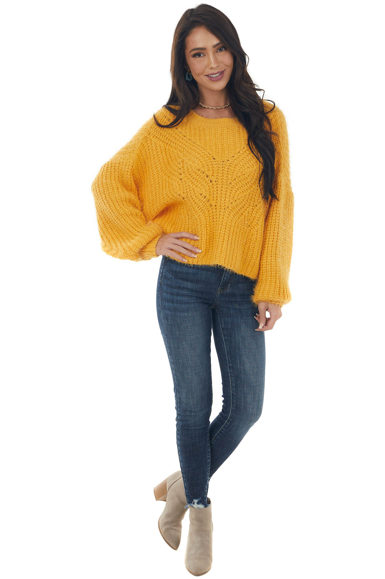 Amber Long Sleeve Fuzzy Cable Knit Sweater