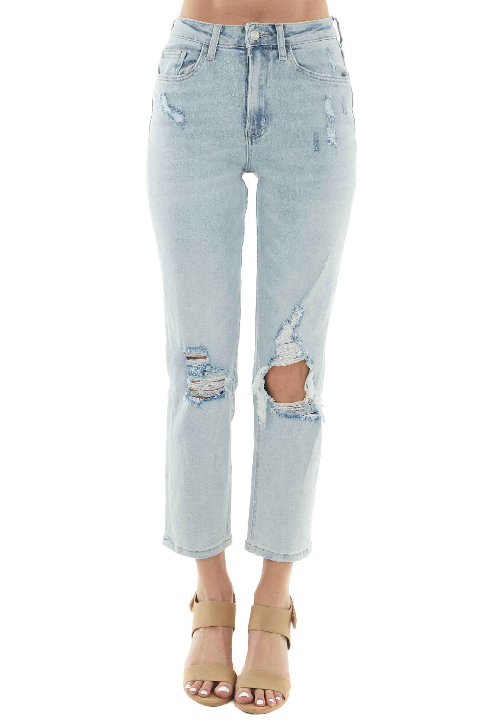 Light Wash High Rise Distressed Mom Jeans