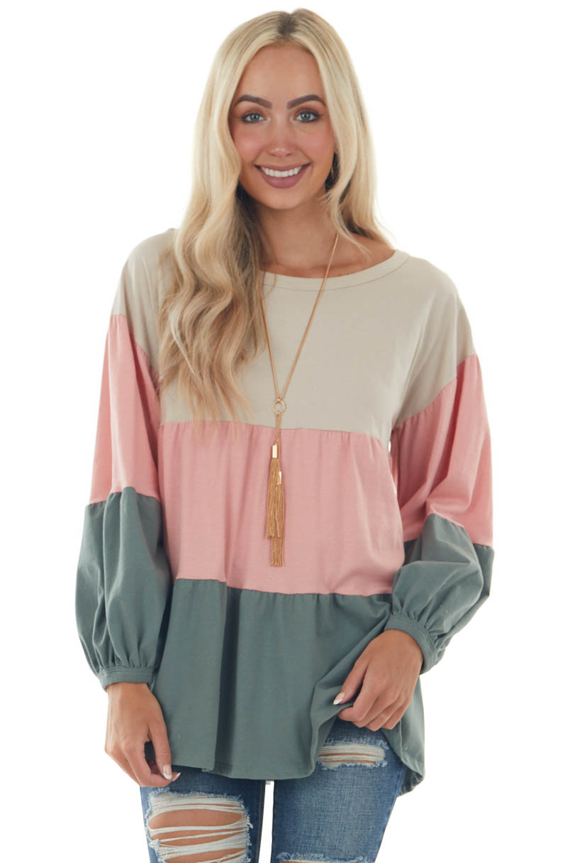 Pale Coral Colorblock Bubble Sleeve Tiered Top
