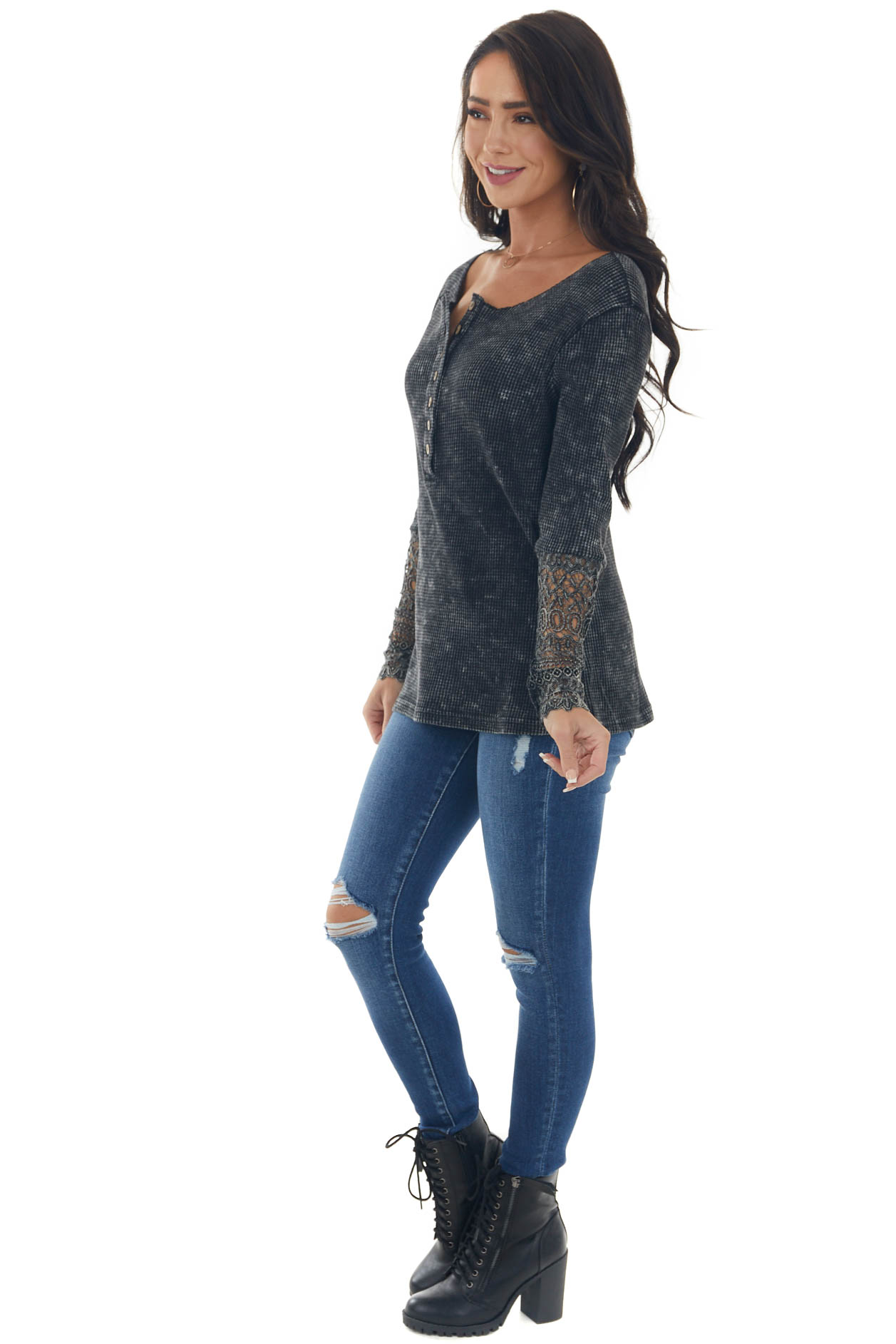 Black and Charcoal Thermal Knit Long Sleeve Top