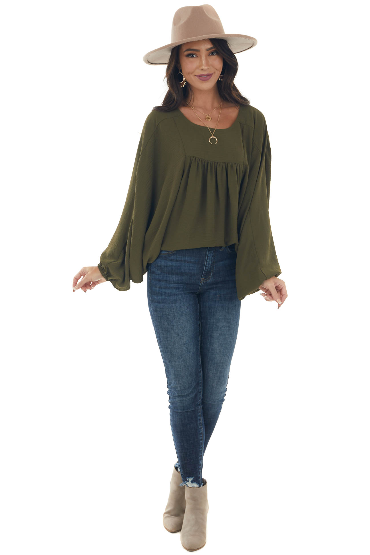 Olive Batwing Sleeve Peasant Blouse