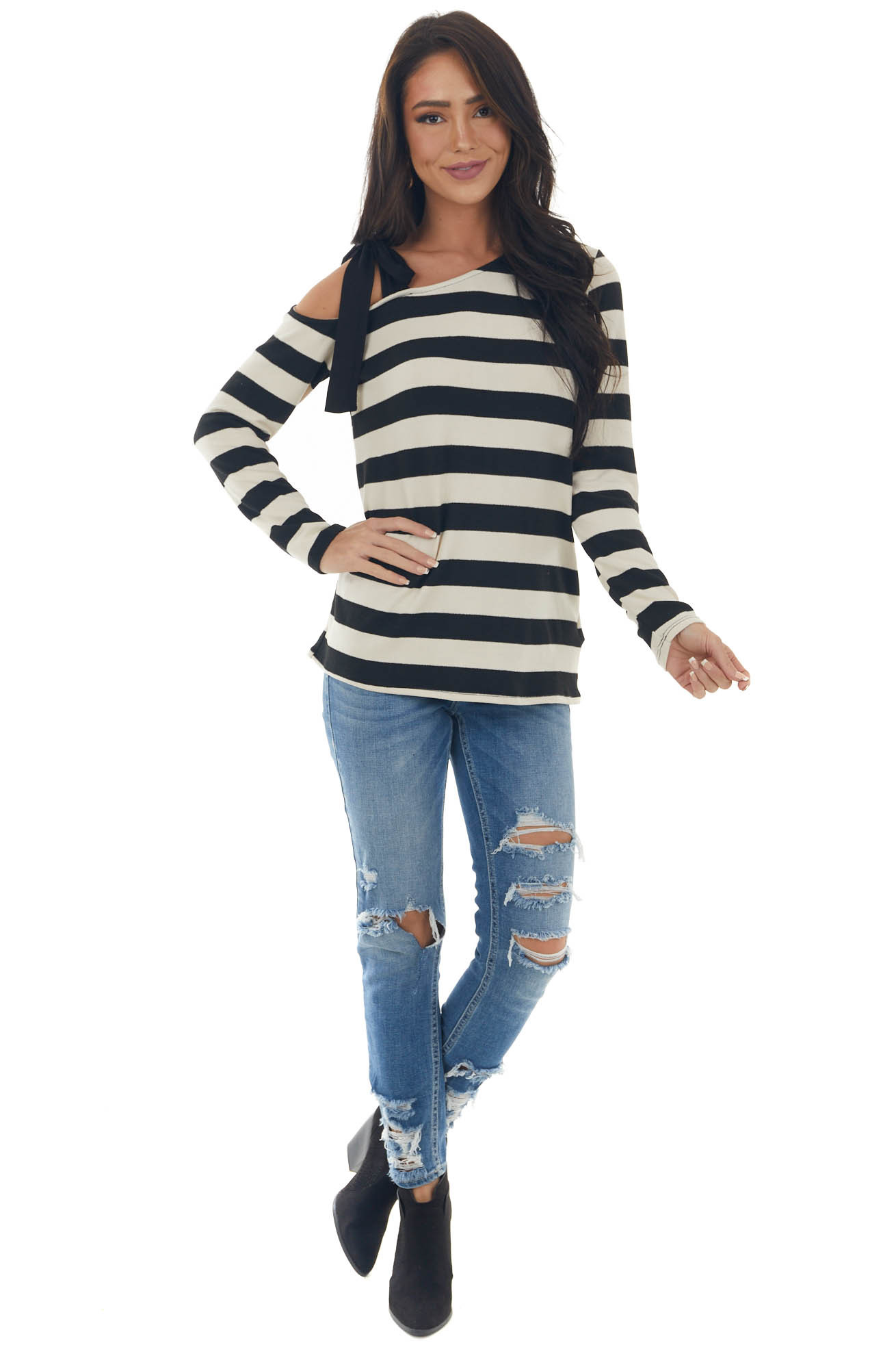 Cream Striped Top with Tied Cold Shoulder