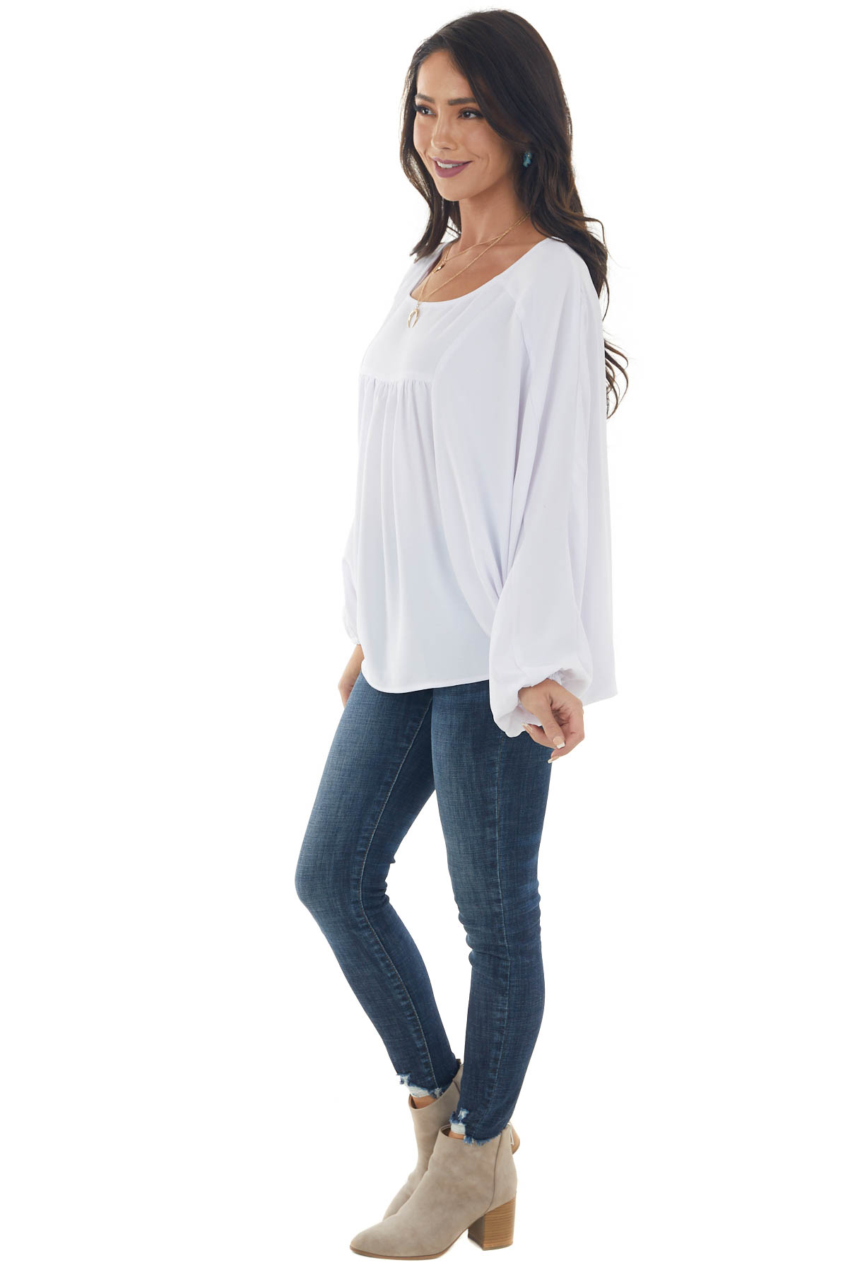 White Batwing Sleeve Peasant Blouse