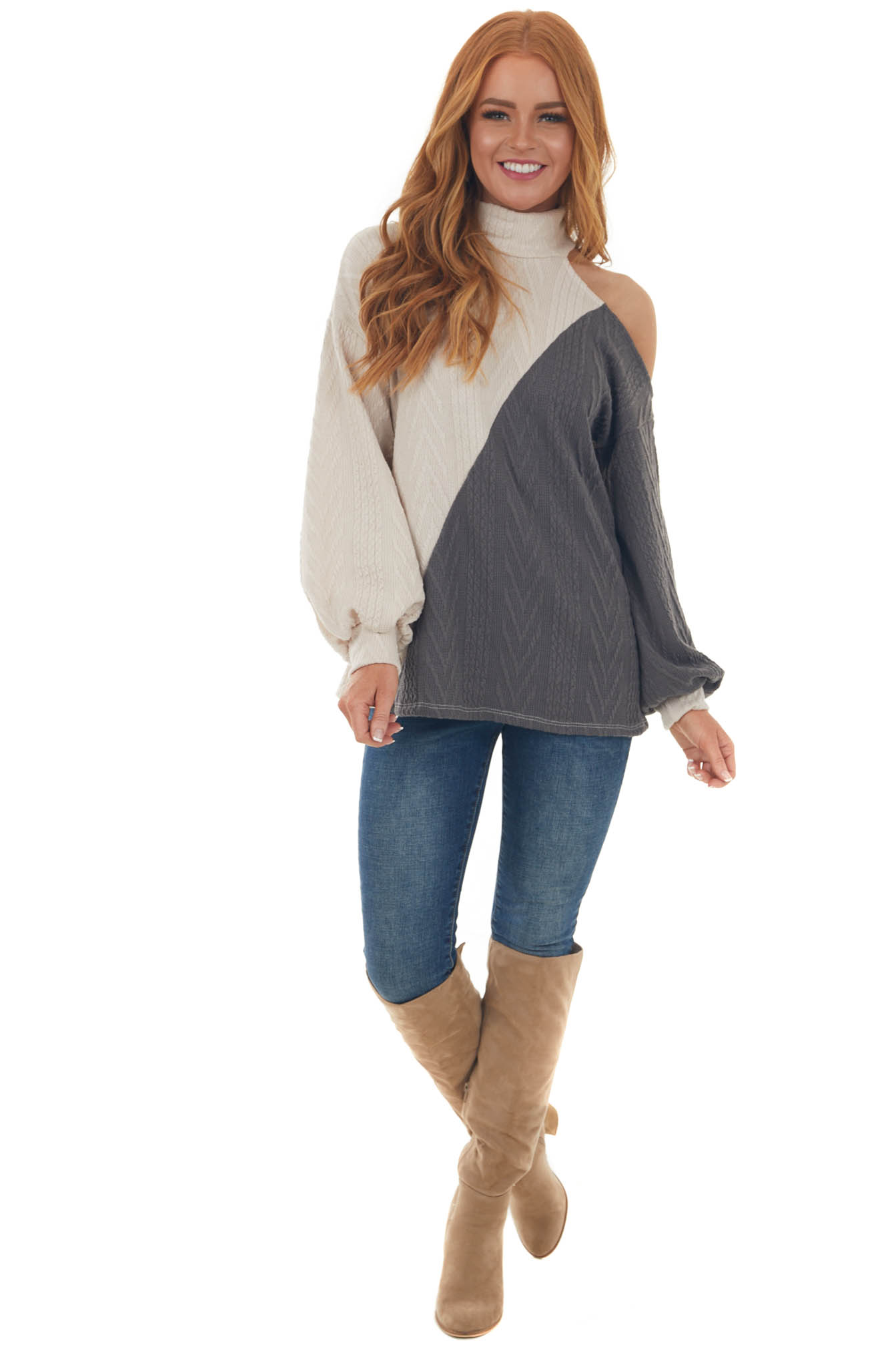 Charcoal Grey Colorblock Cold Shoulder Sweater