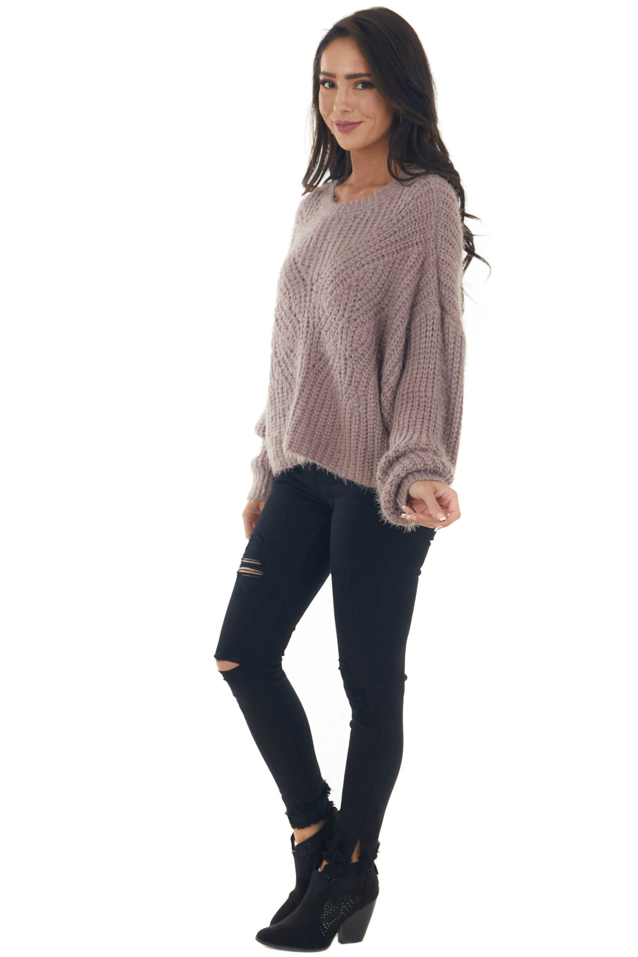Mauve Long Sleeve Fuzzy Cable Knit Sweater