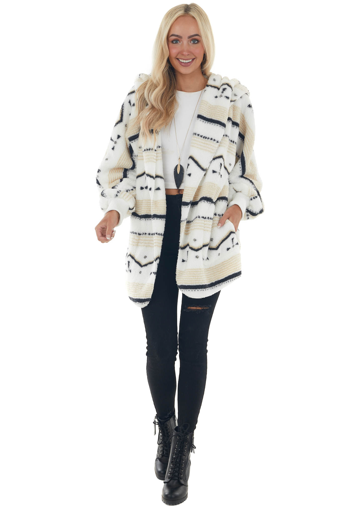 Pearl Striped Fuzzy Sherpa Cardigan with Hood
