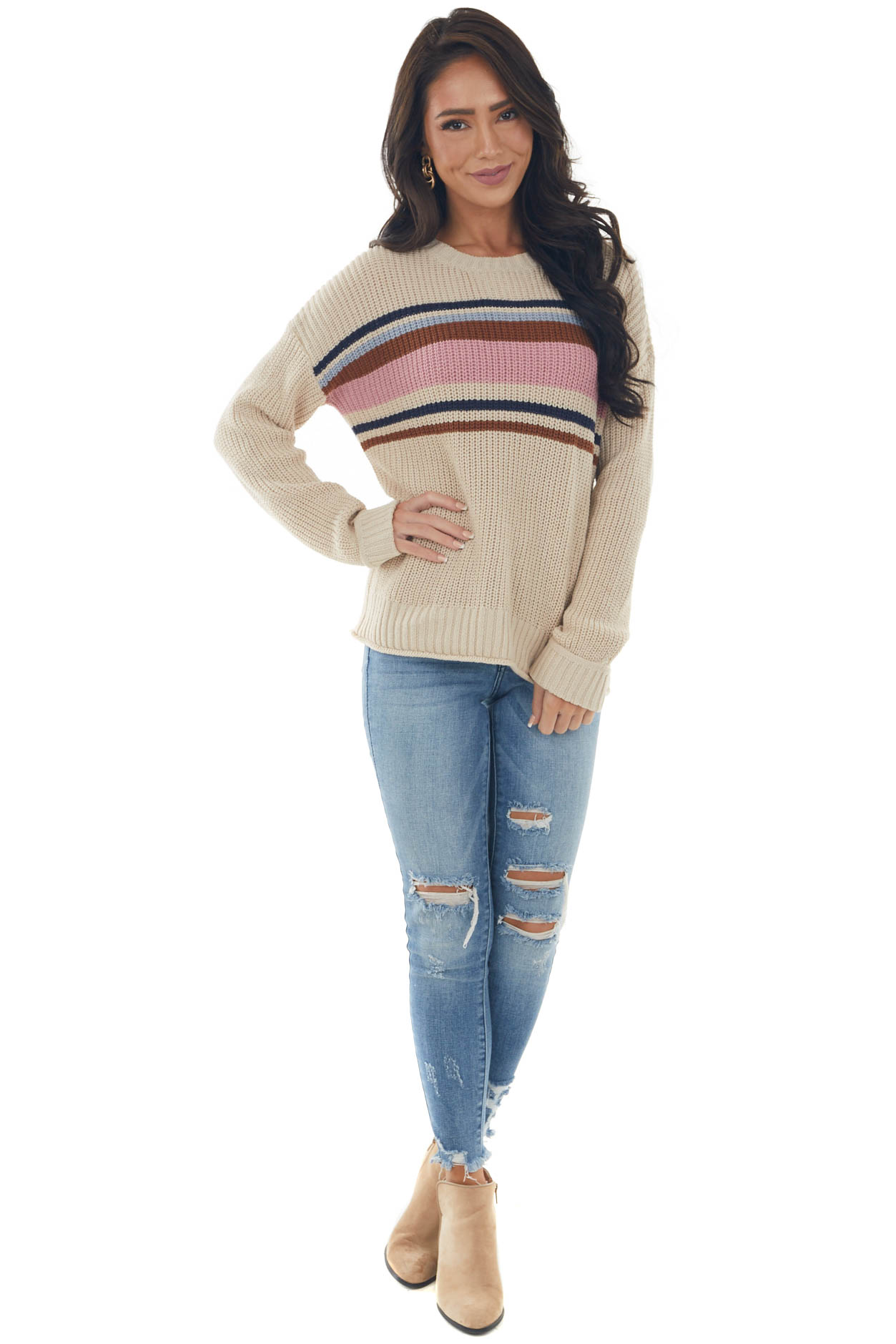 Beige Striped Long Sleeve Ribbed Trim Sweater