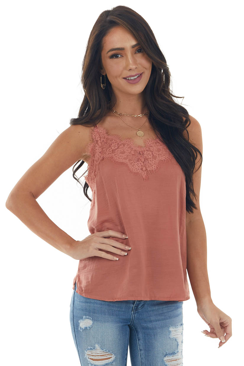Ginger Frayed Scalloped Lace Satin Cami