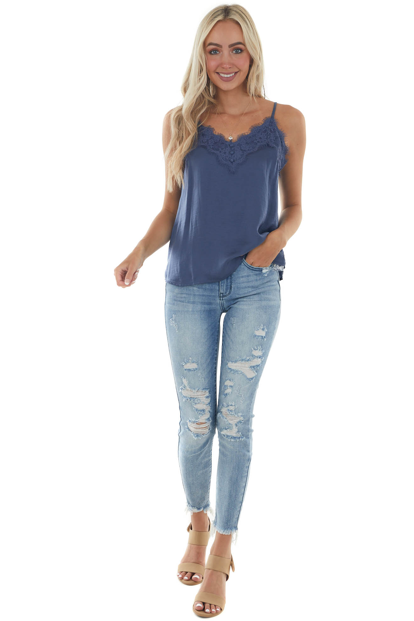 Steel Blue Frayed Scalloped Lace Satin Cami