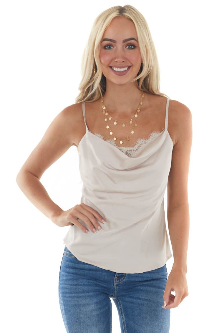 Champagne Silky Camisole with Draped Neckline