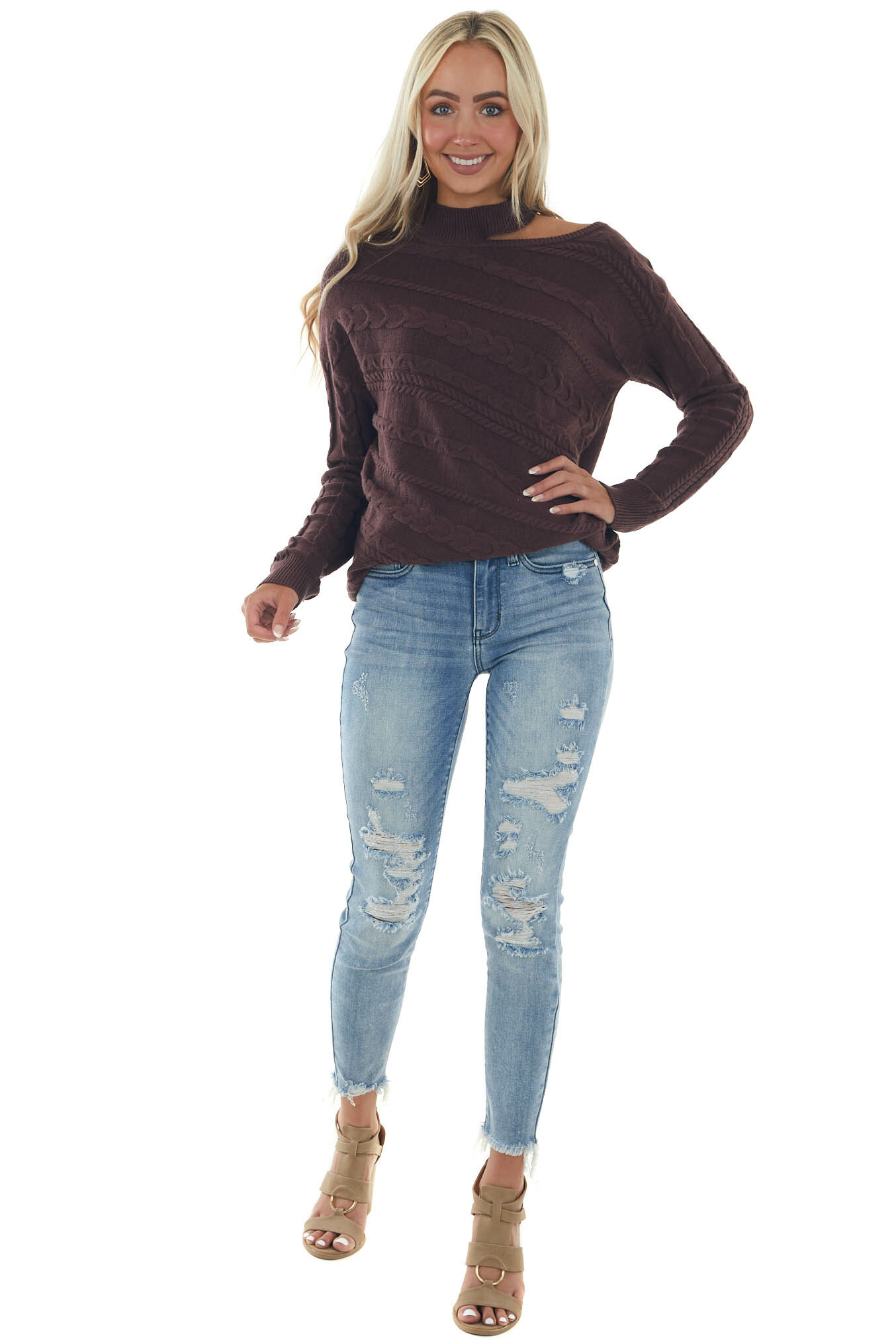 Faded Eggplant Cold Shoulder Knit Sweater Top