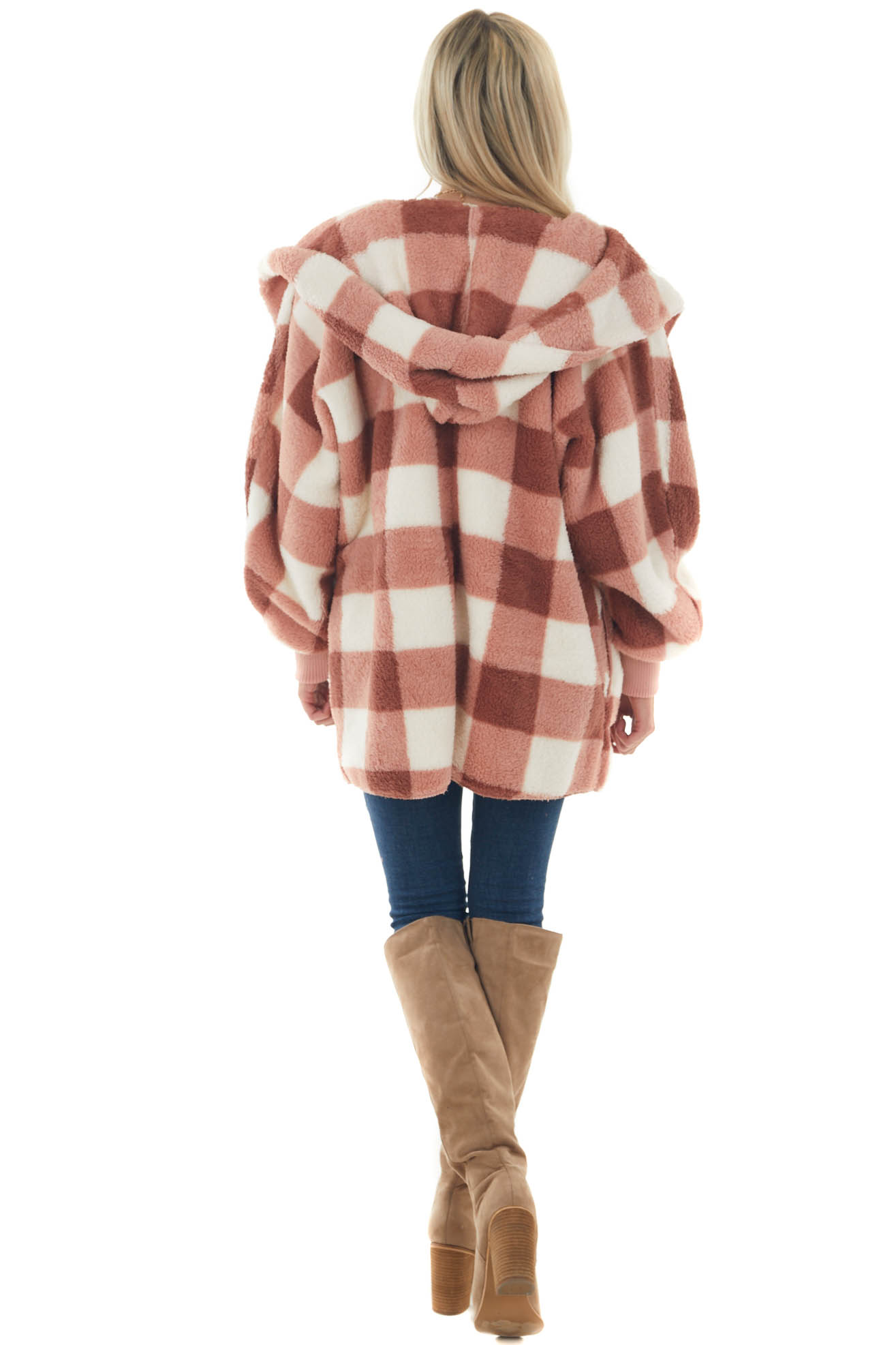 Coral Plaid Soft Sherpa Hooded Cardigan