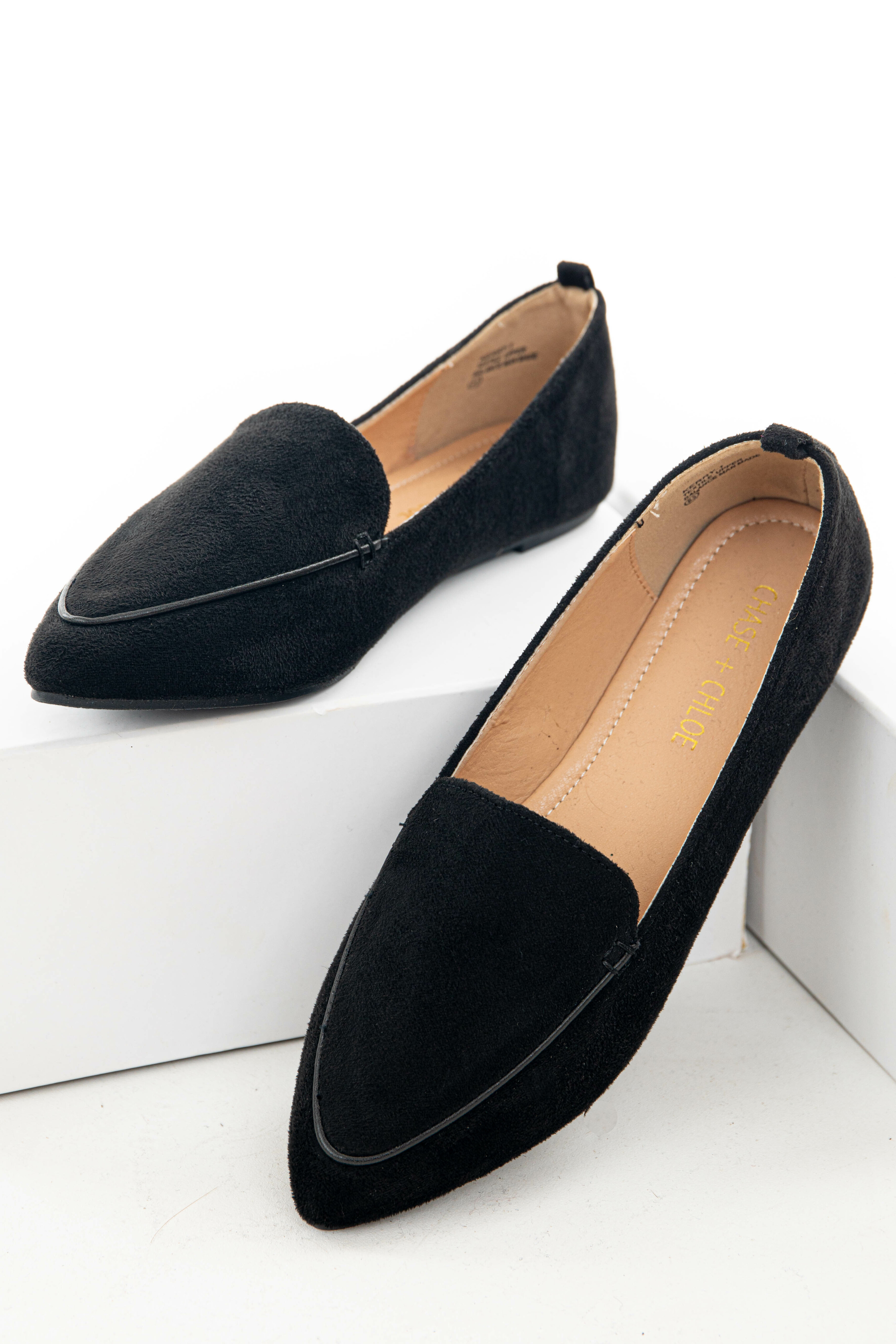 Black Faux Suede Pointed Toe Loafer Flats
