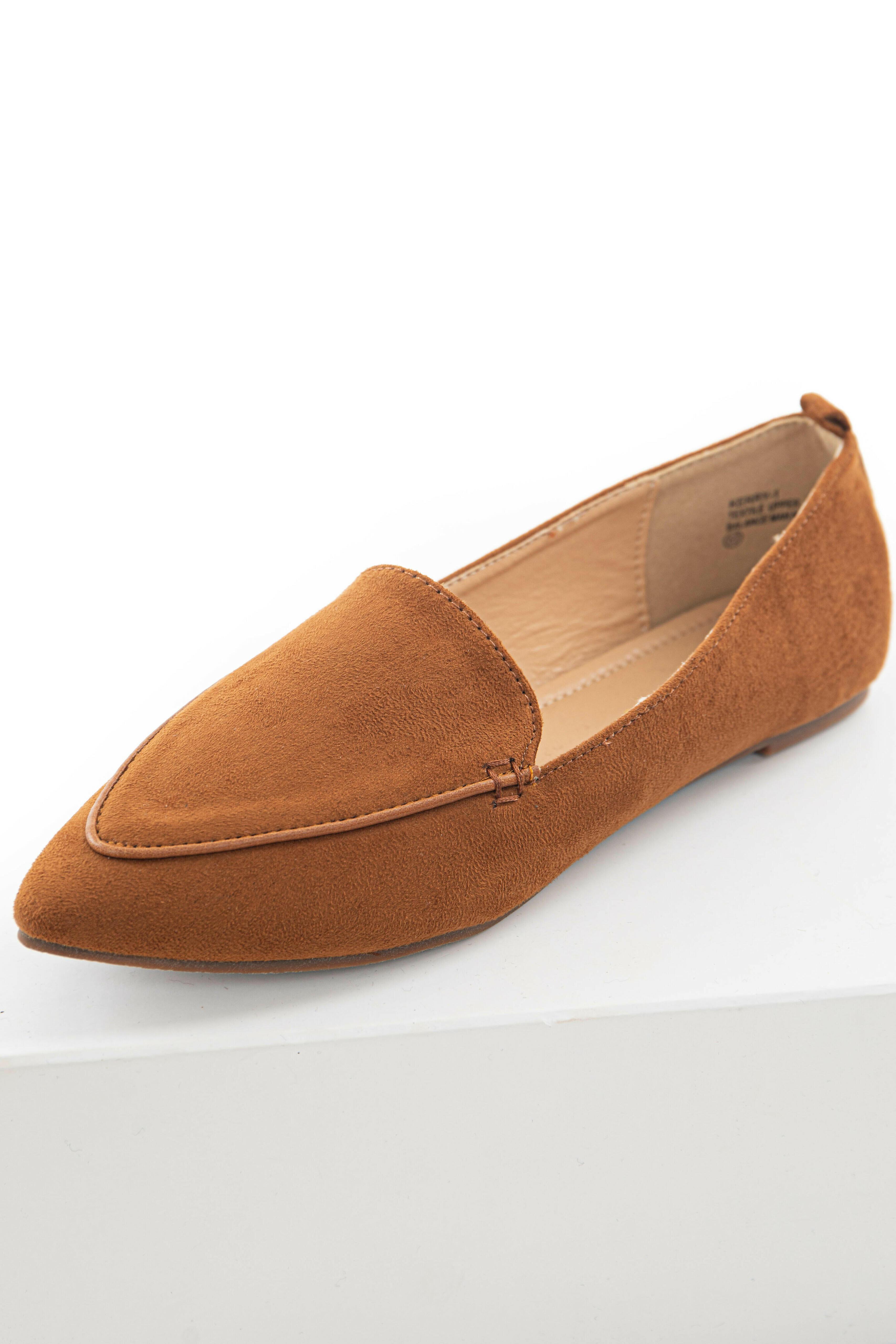 Caramel Faux Suede Pointed Toe Loafer Flats