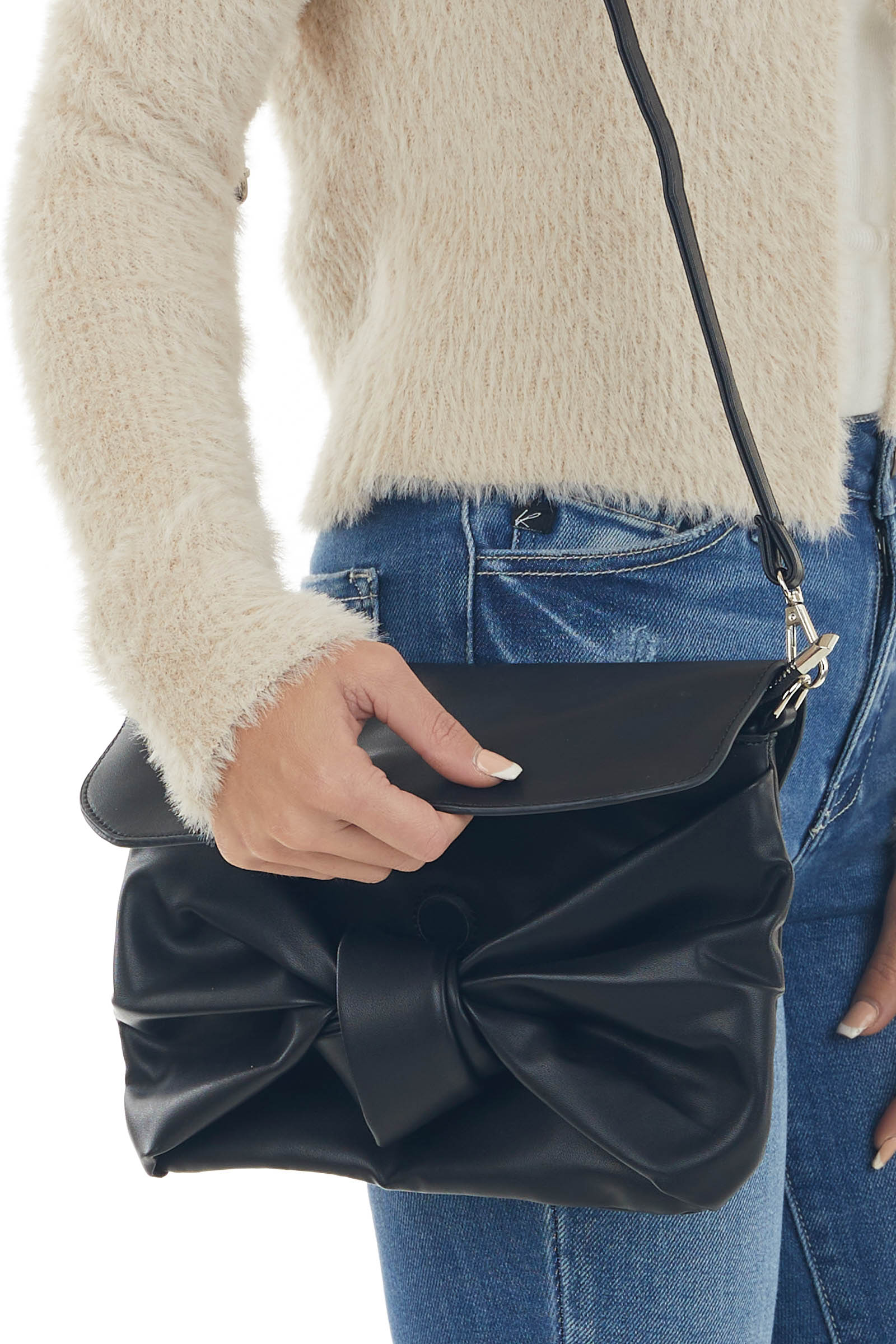Black Pleather Handbag with Front Knot Detail