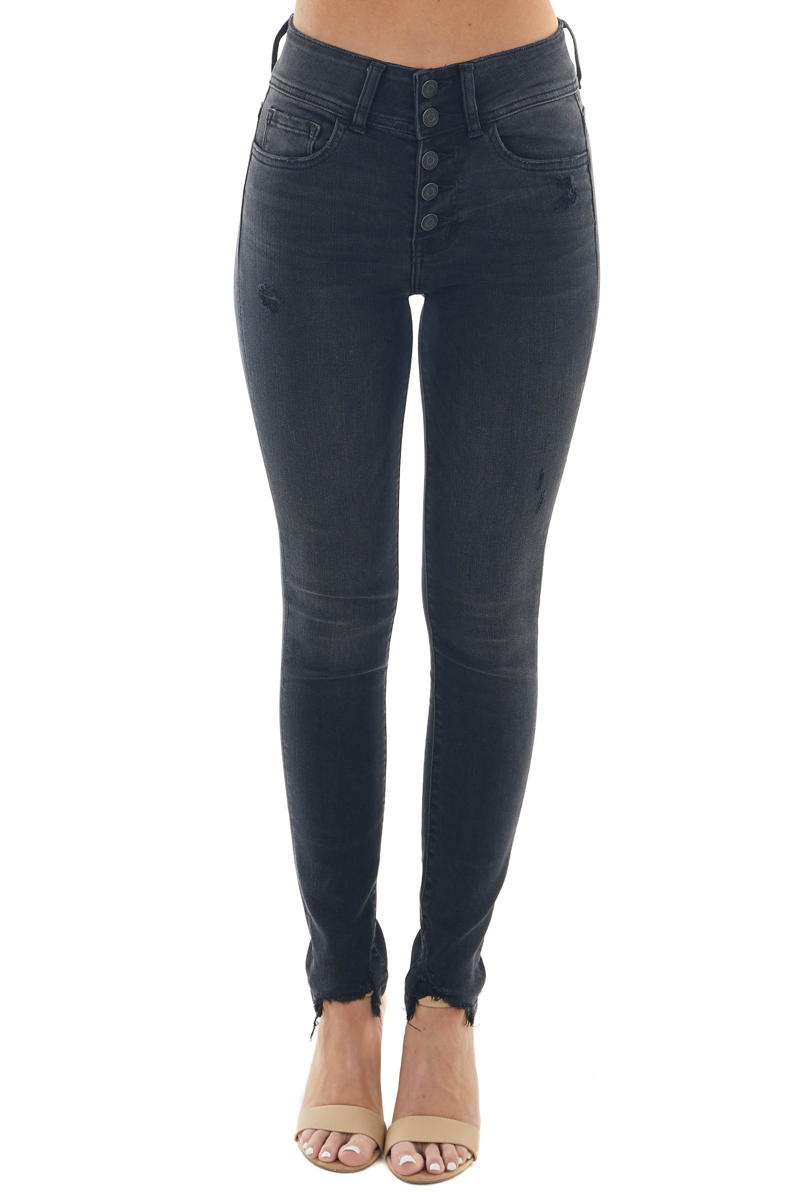 Charcoal High Rise Button Up Fly Skinny Jeans
