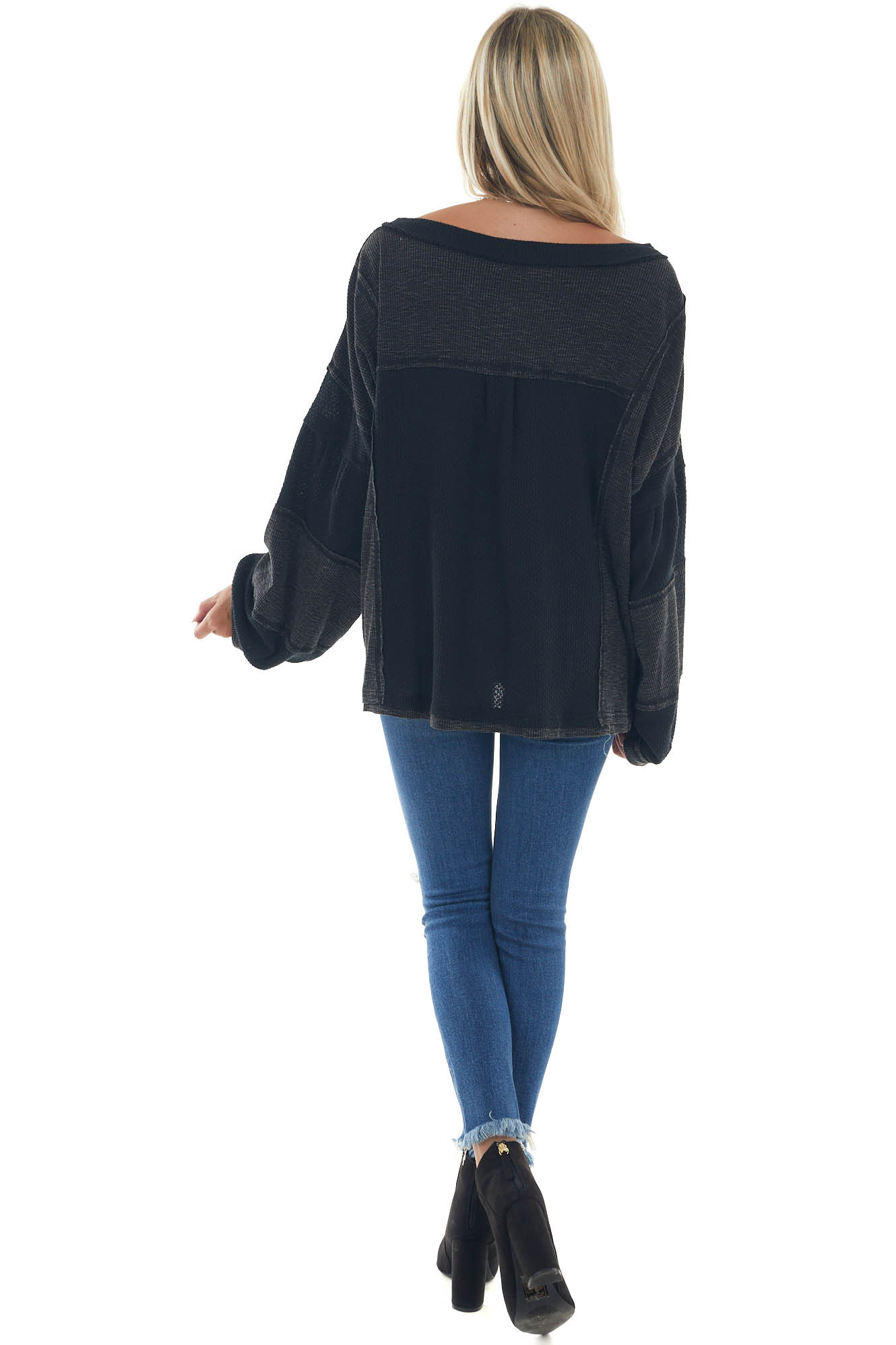 Black and Charcoal Long Tiered Sleeve Top