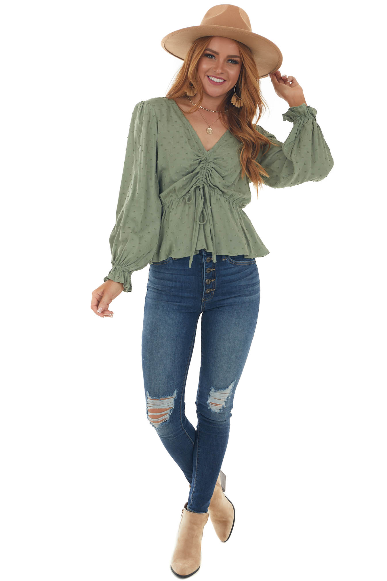 Pistachio Swiss Dot Ruched Puff Sleeve Blouse