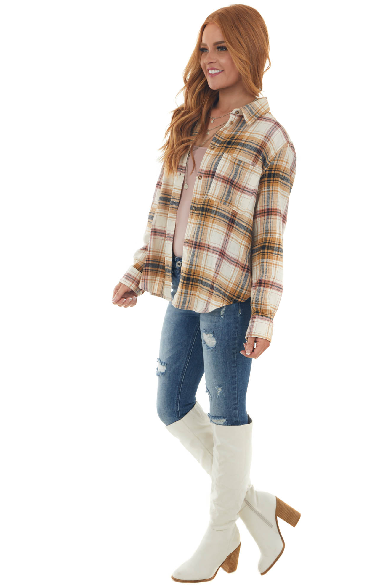 Mango and Ginger Plaid Button Up Flannel Top