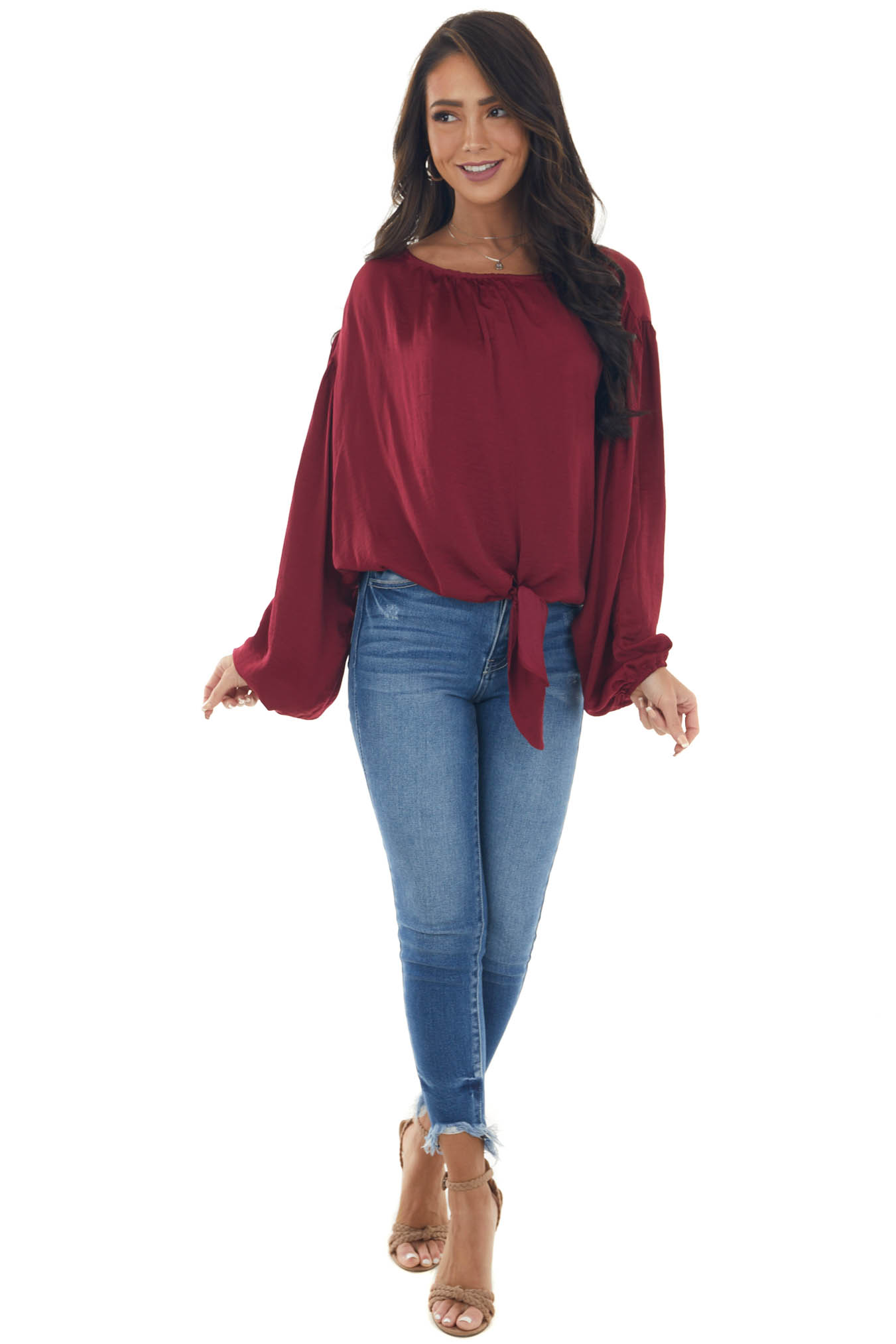Maroon Bubble Sleeve Blouse with Tie Detail