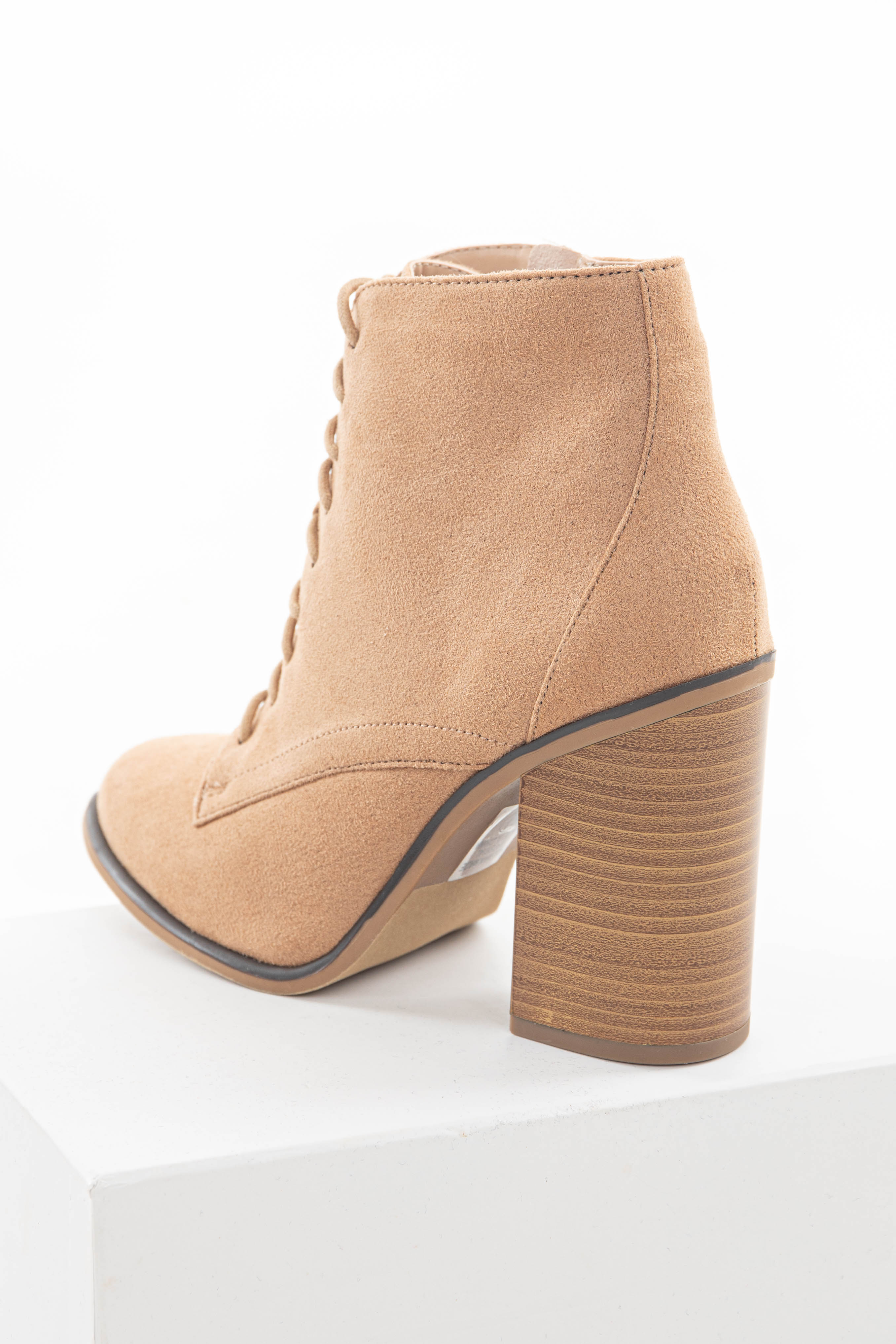 Nude Faux Suede Lace Up High Heel Booties