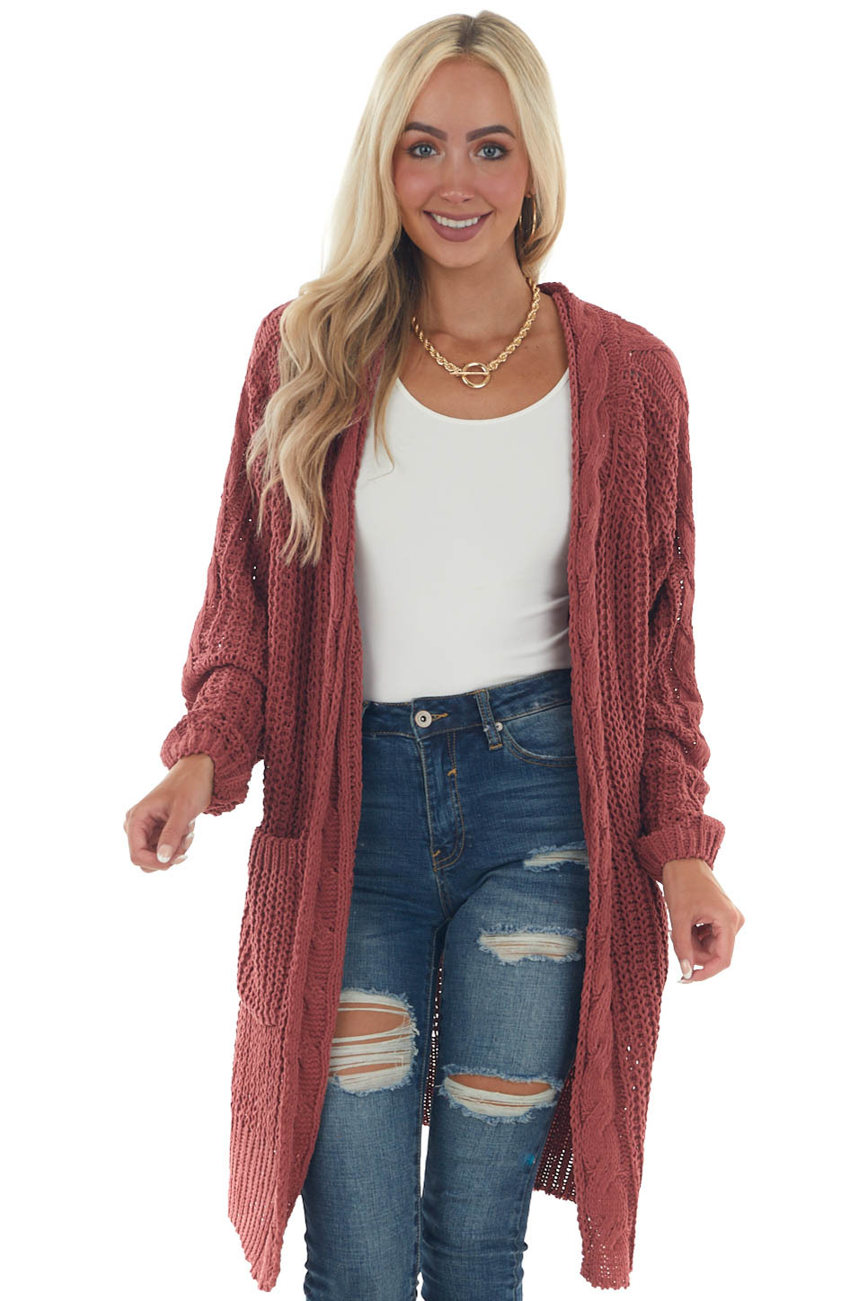 Terracotta Soft Chunky Cable Knit Cardigan