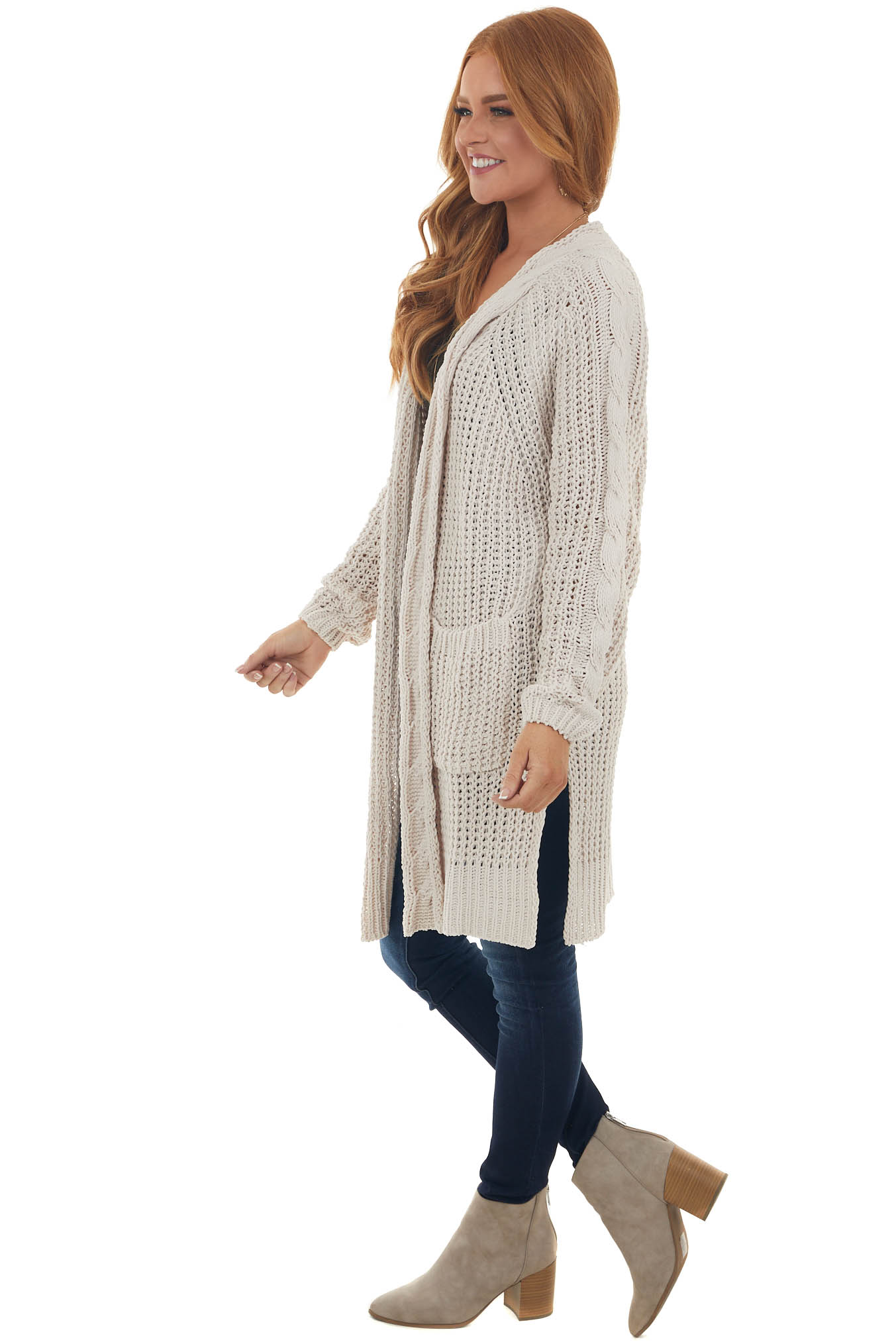 Vintage Cream Soft Chunky Cable Knit Cardigan