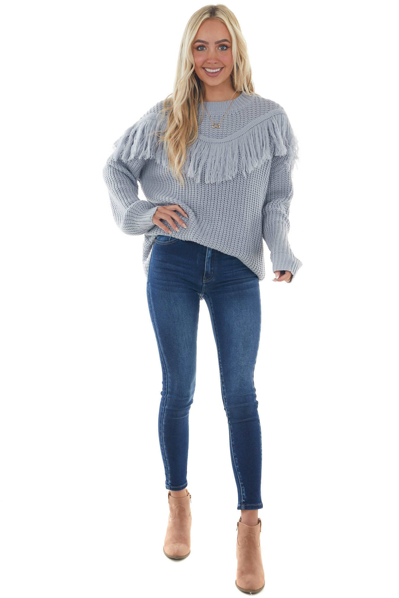 Pastel Blue Knit Sweater with Tassel Detail