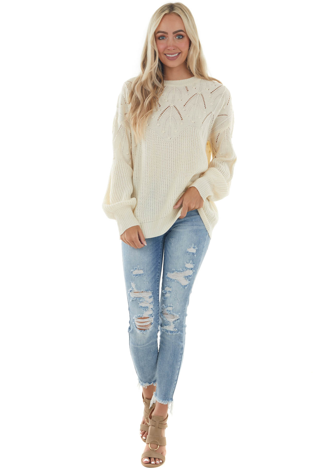 Cream Sweater with Textured and Pointelle Yoke