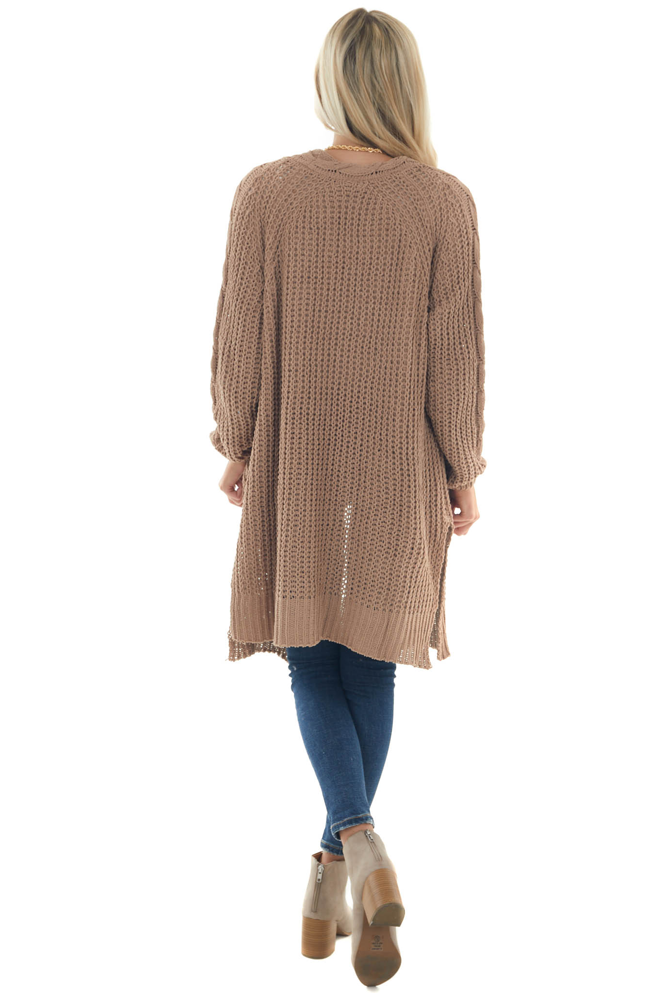Brown Sugar Soft Chunky Cable Knit Cardigan
