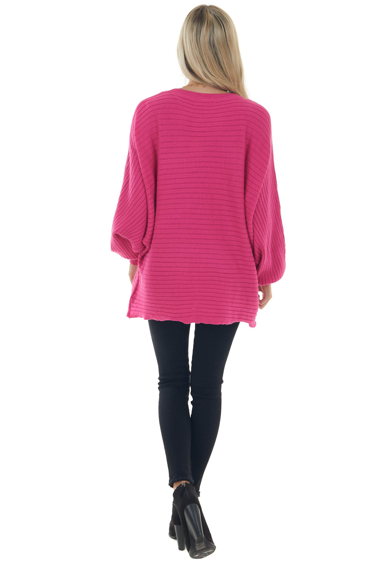 Hot Pink Oversized Ribbed Knit Dolman Sweater