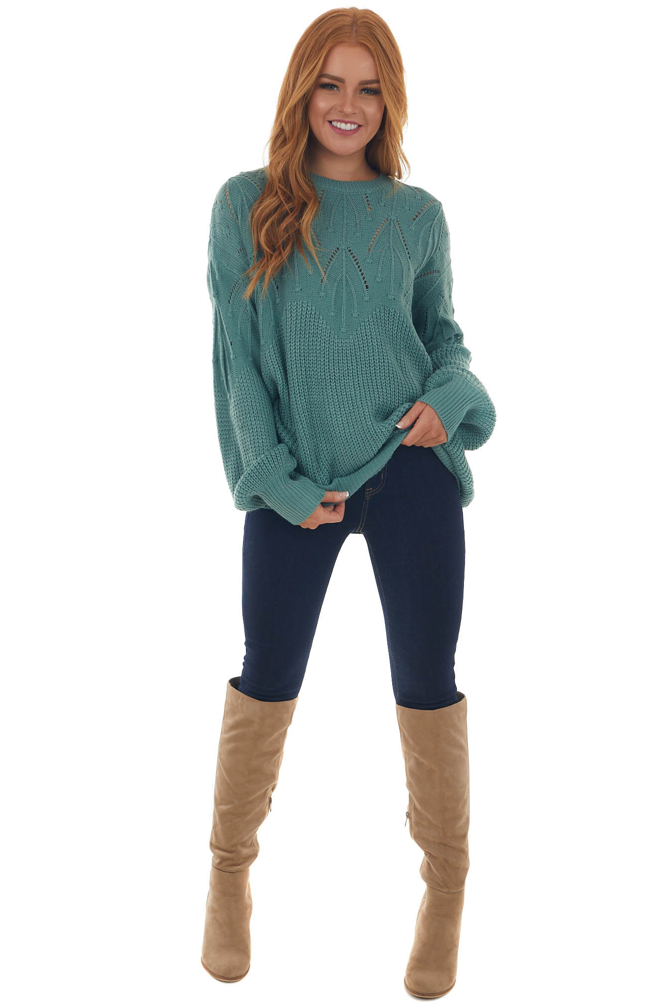 Pine Sweater with Textured and Pointelle Yoke