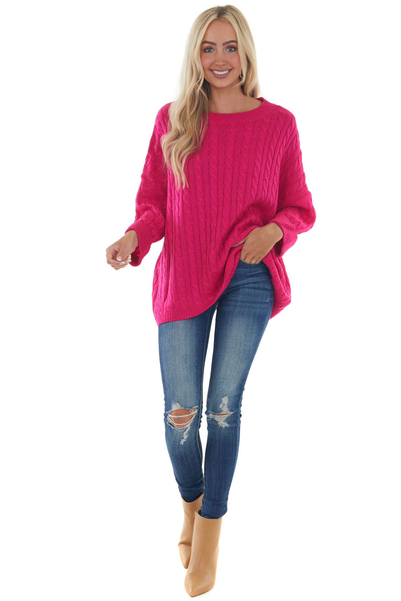 Raspberry Oversized Cable Knit Sweater