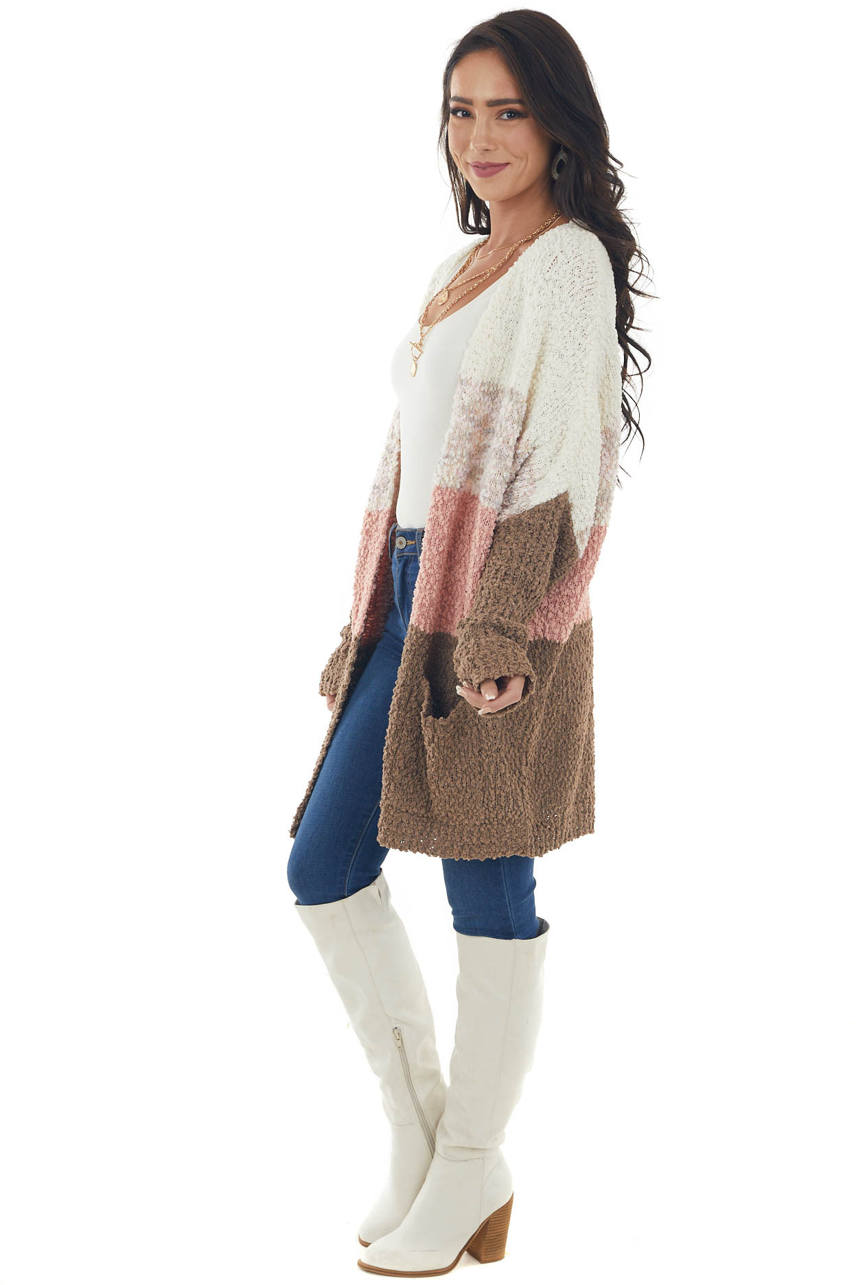 Cream Colorblock Open Front Knit Cardigan
