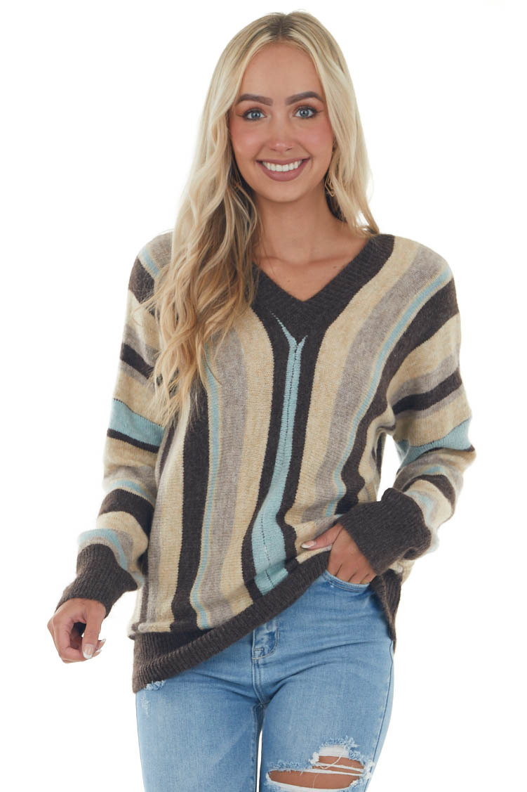 Coffee Striped V Neck Long Puff Sleeve Sweater