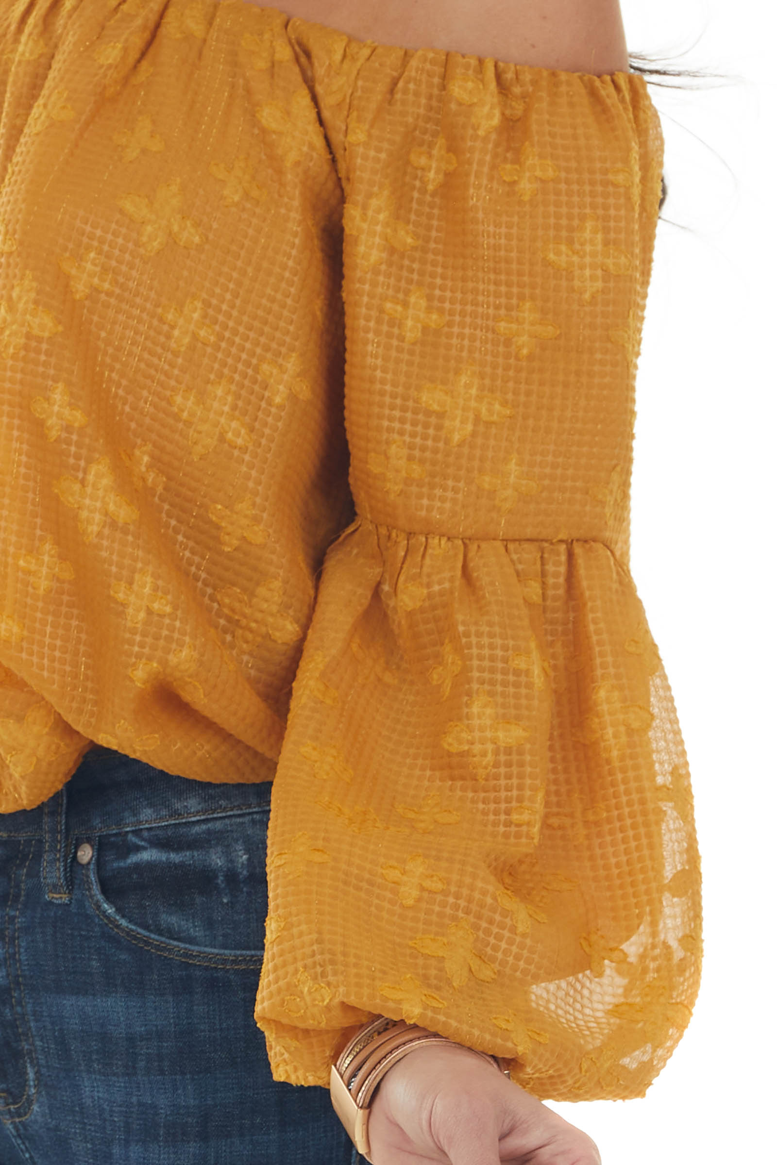 Mustard Textured Off the Shoulder Blouse