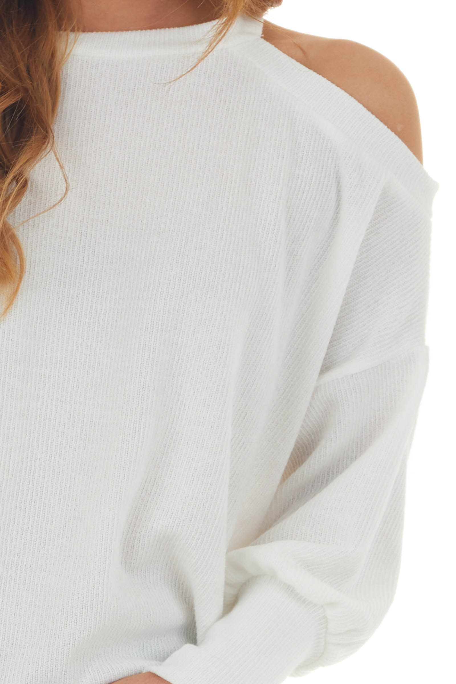 Ivory Cold Shoulder Fuzzy Banded Sweater