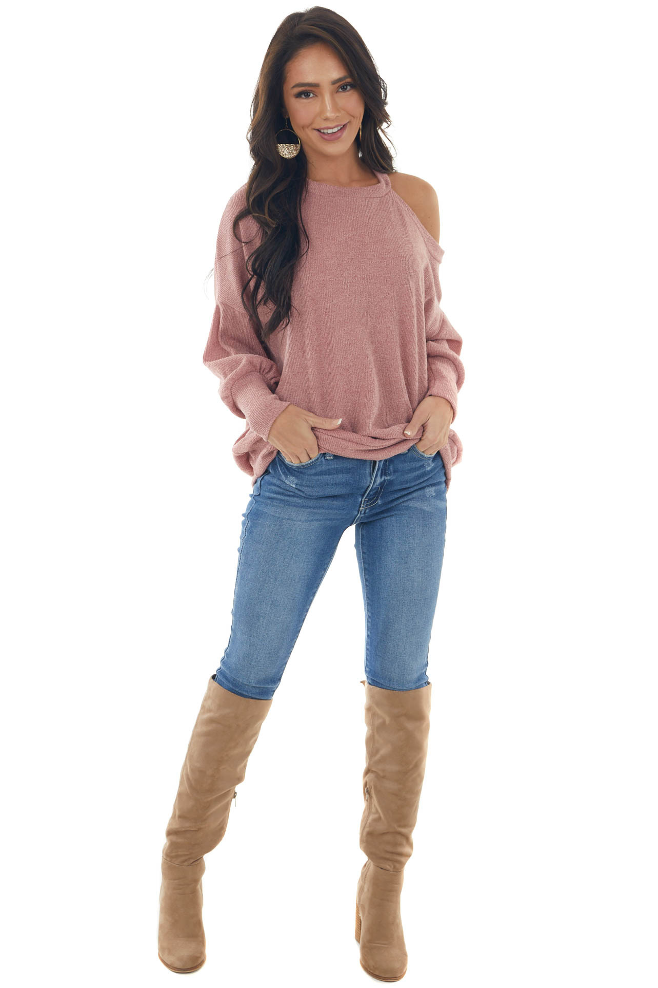 Light Punch Cold Shoulder Fuzzy Banded Sweater