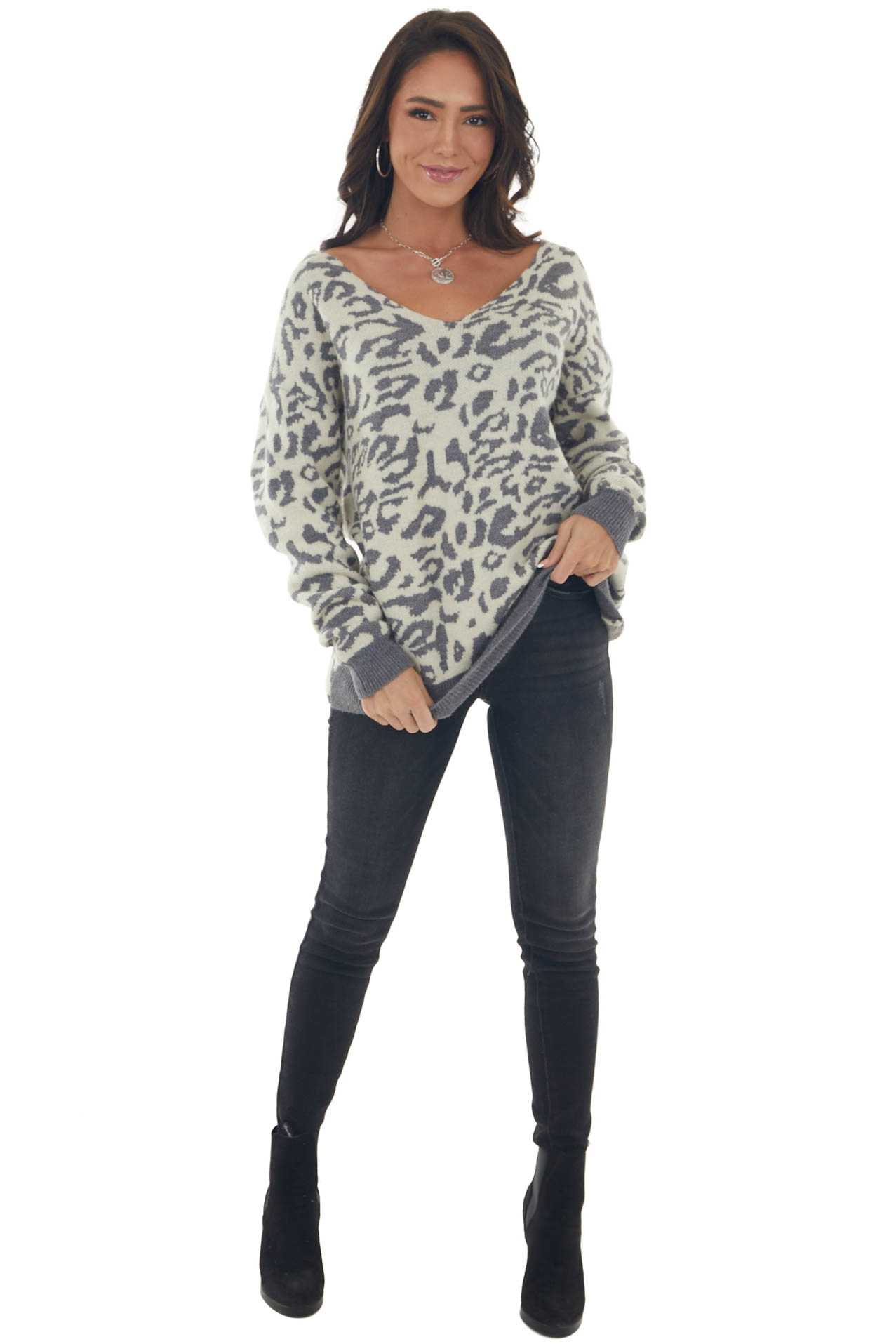 Graphite Leopard Print Twisted Back Sweater