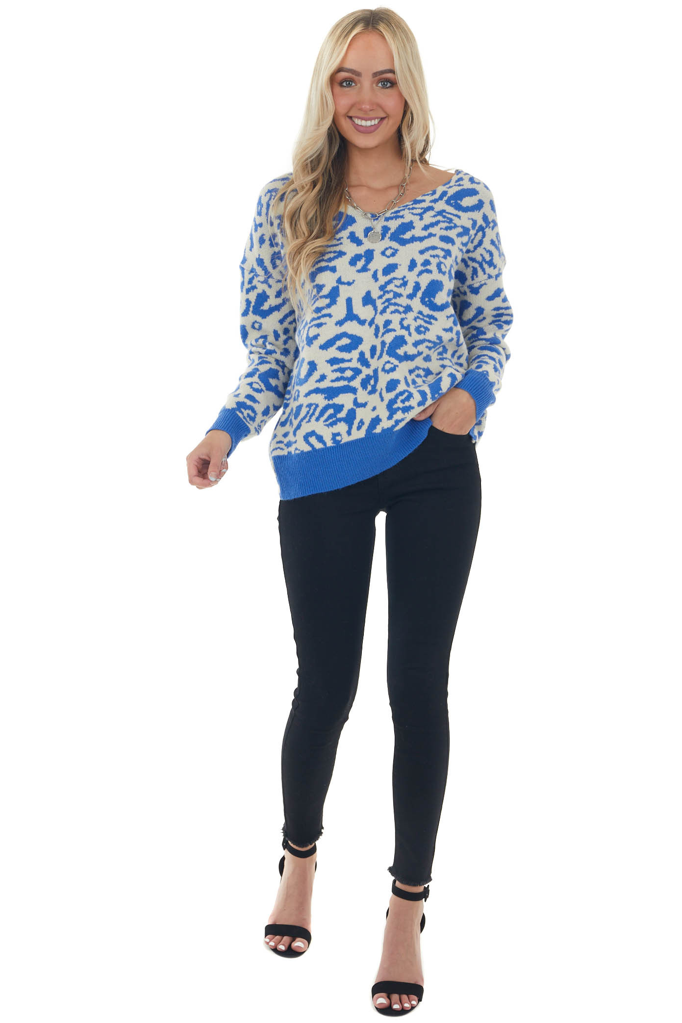 Royal Blue Leopard Print Twisted Back Sweater